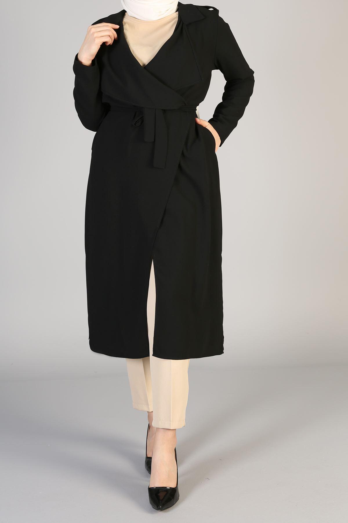 Kuşaklı Uzun Ceket-Siyah