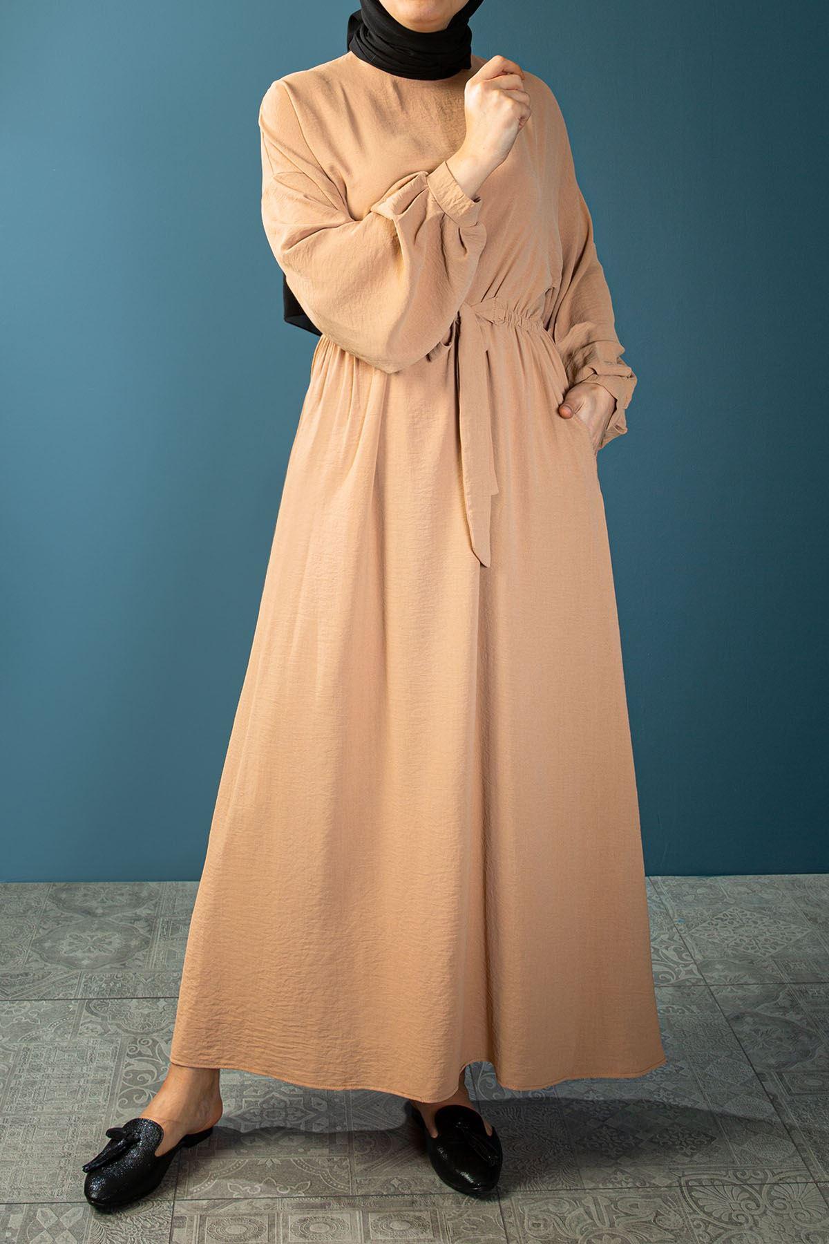 Bel Lastik Kuşak Bağlamalı Elbise-Taş