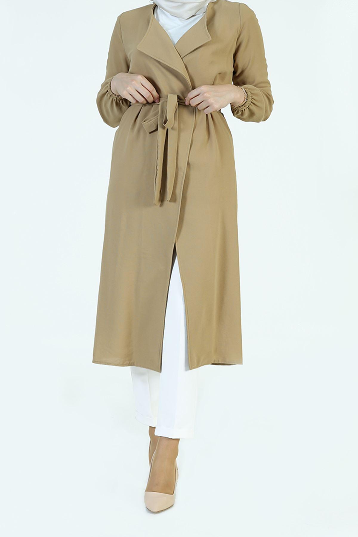 Kol Lastik Kuşaklı Ceket-Karamel