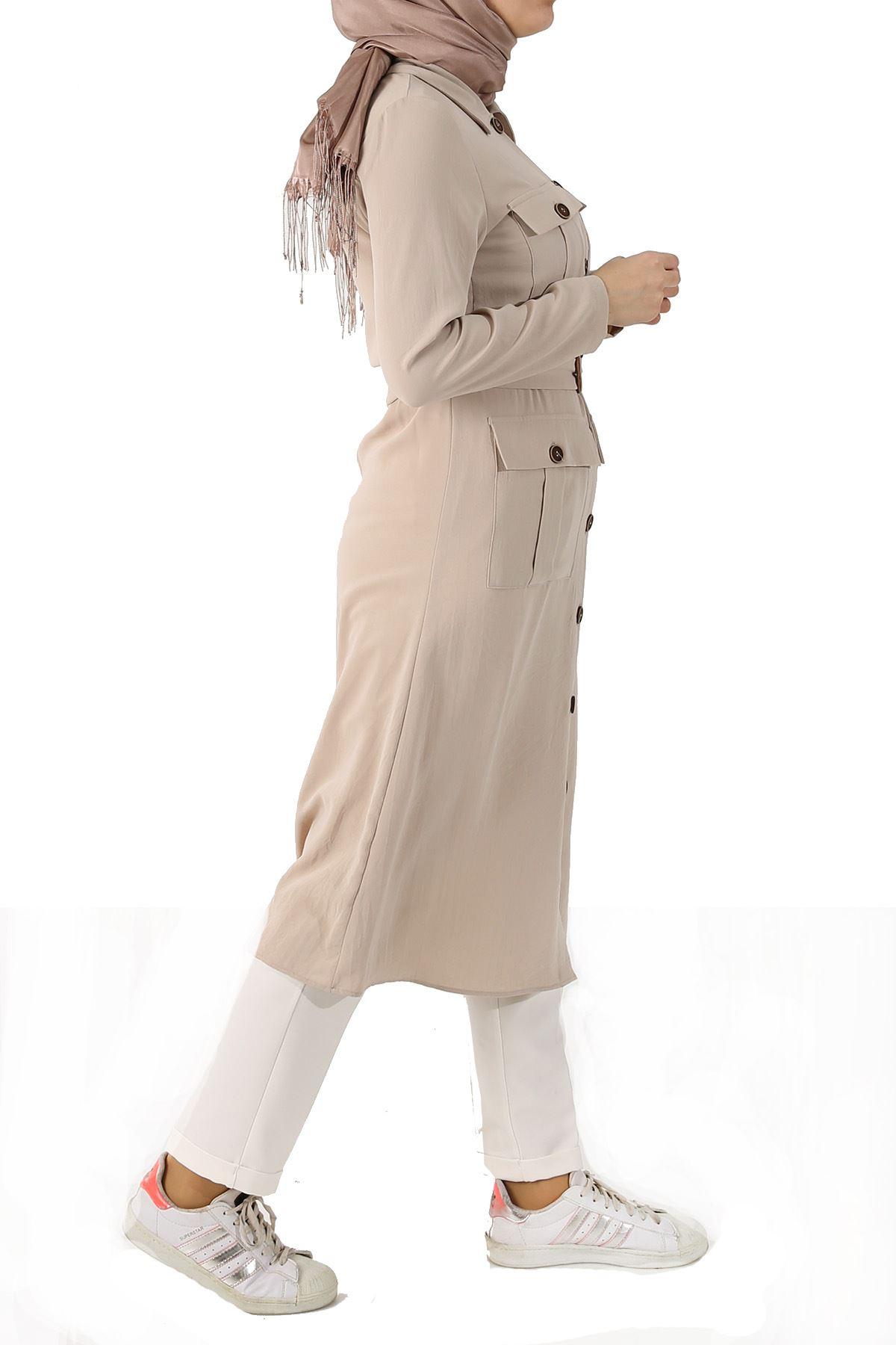 Cep Detay Düğmeli Ceket-Bej