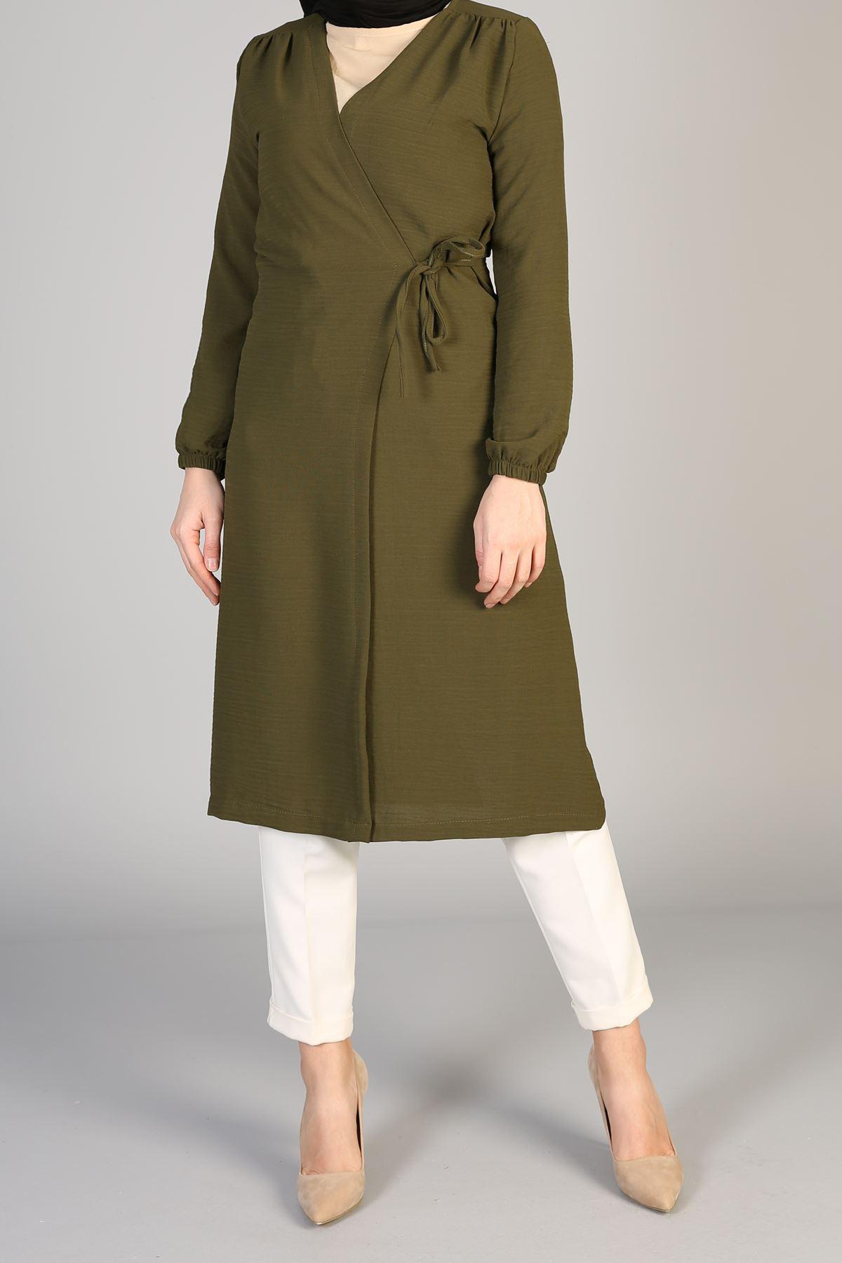 Omuz Pile Detaylı  Bağlamalı Ceket-Haki
