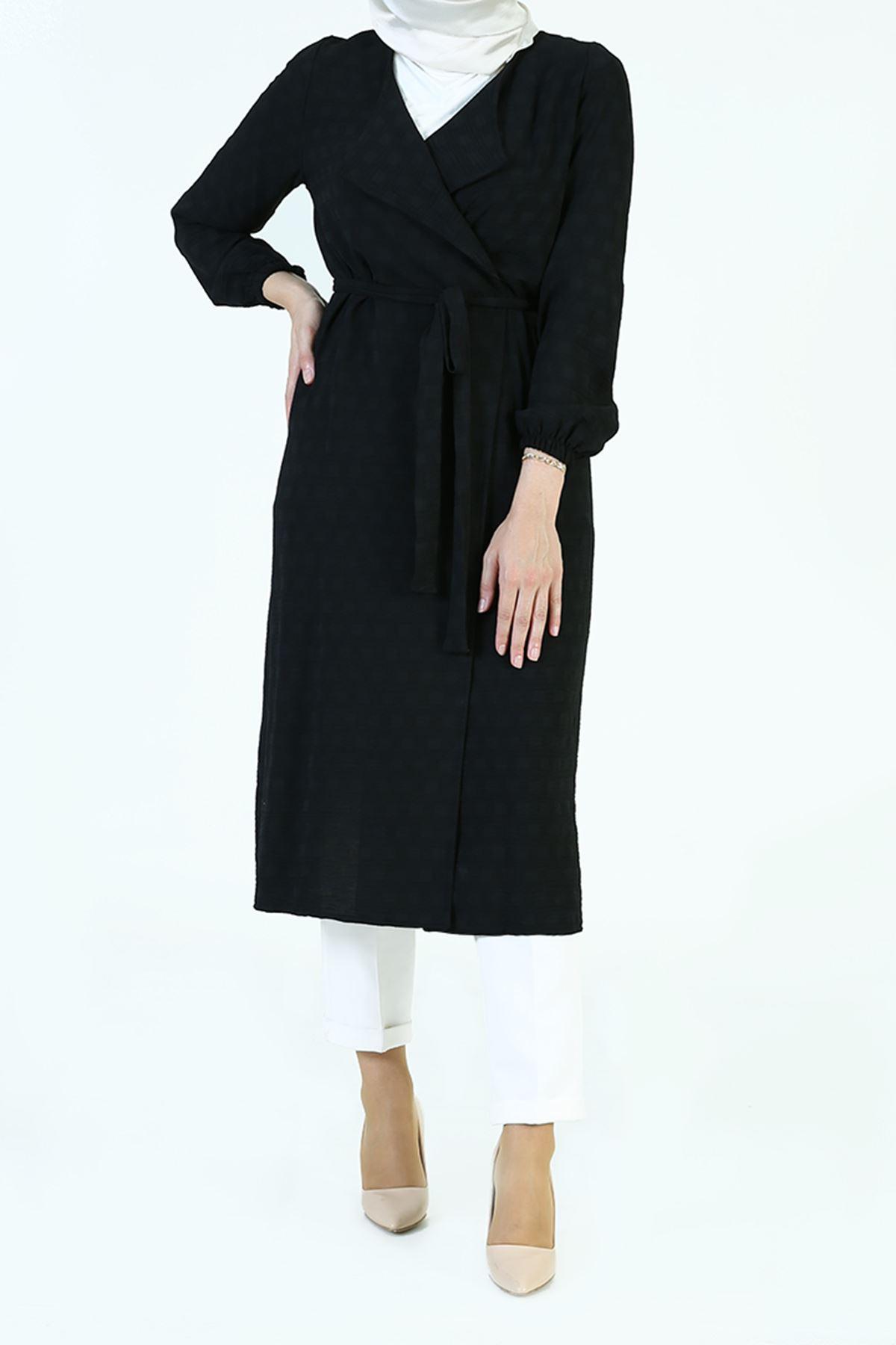 Kol Lastik Kuşaklı Ceket-Siyah