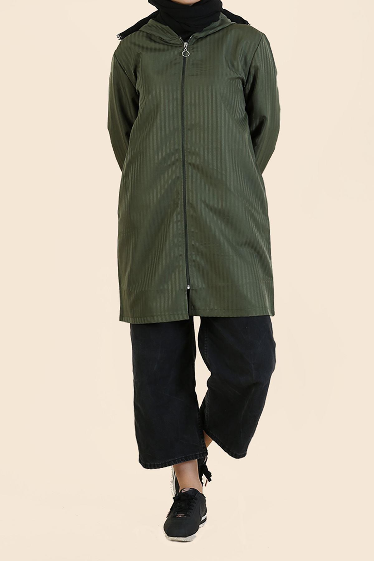 Fermuarlı Kapşonlu Ceket-Haki