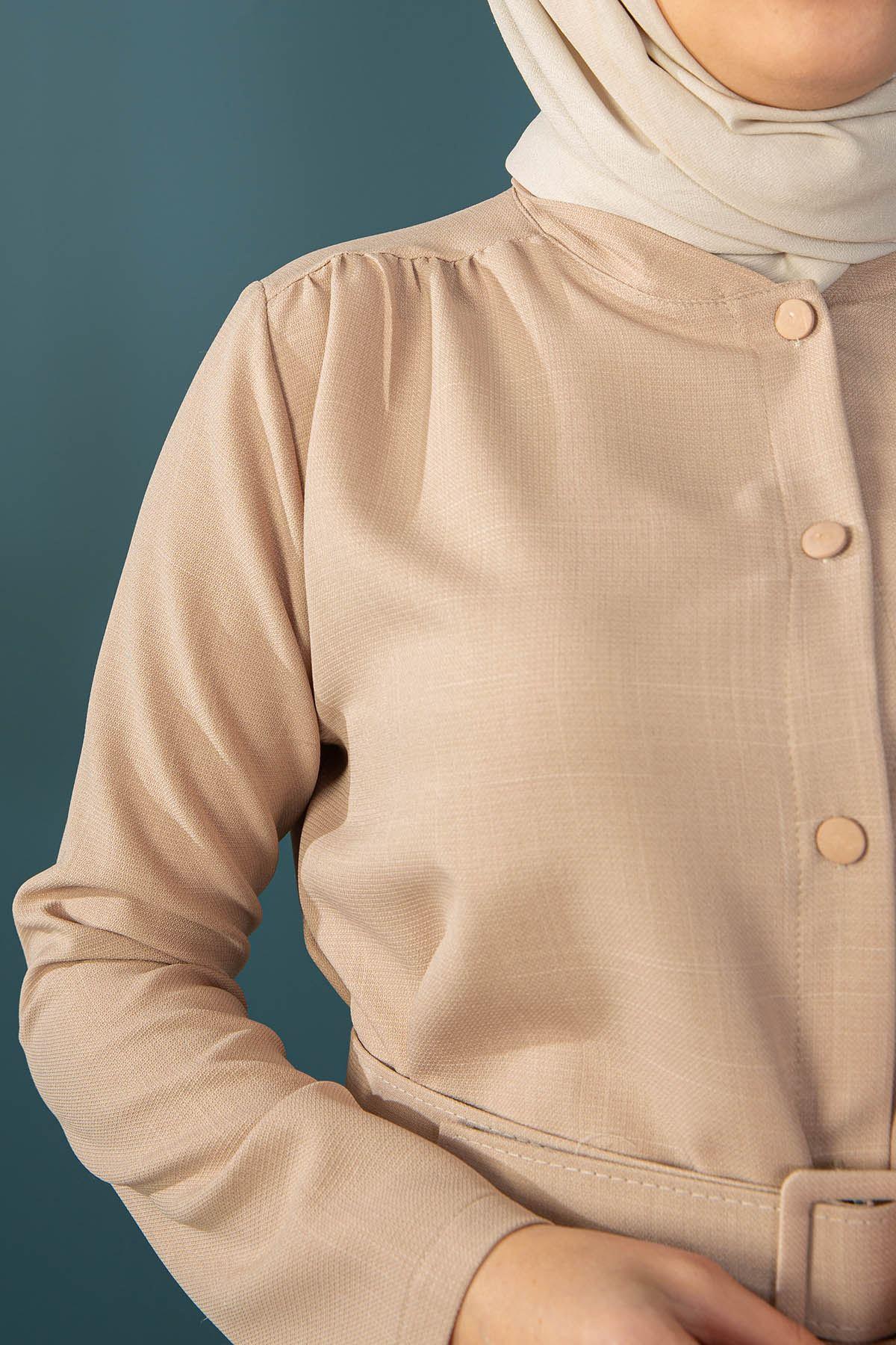 Omuz Detaylı Kemerli Ceket-Bej