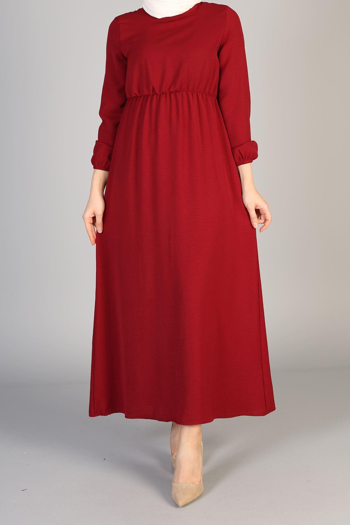 Bel Lastikli Elbise-Bordo
