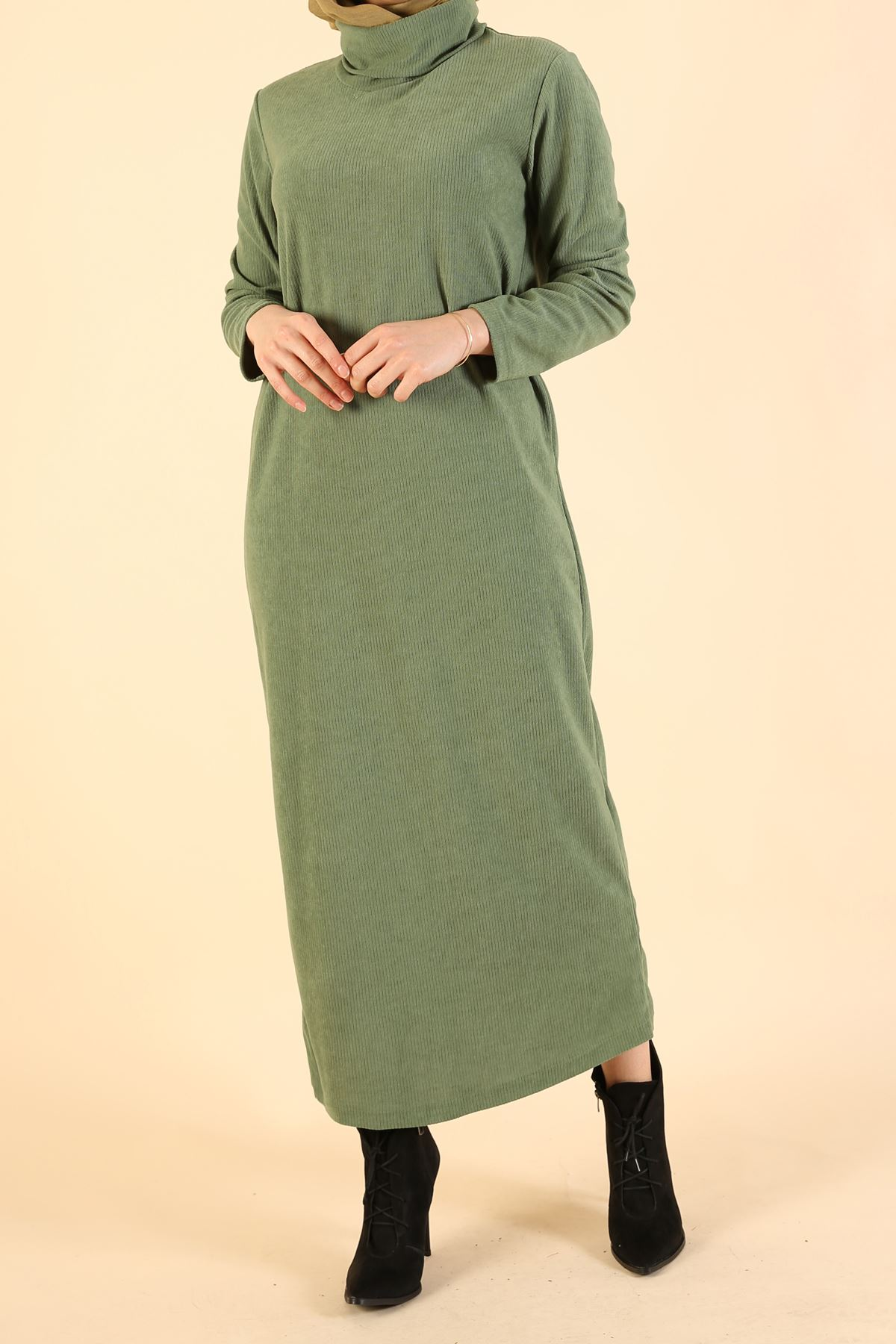Degaje Yaka Elbise-Mint