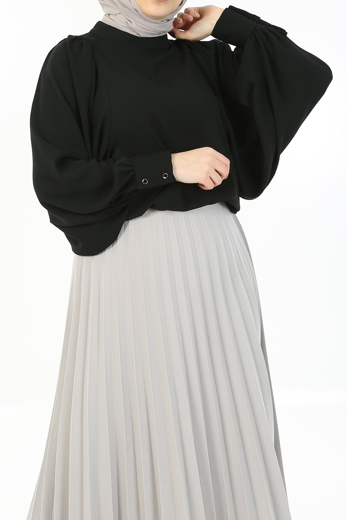 Balon Kol Gömlek-Siyah