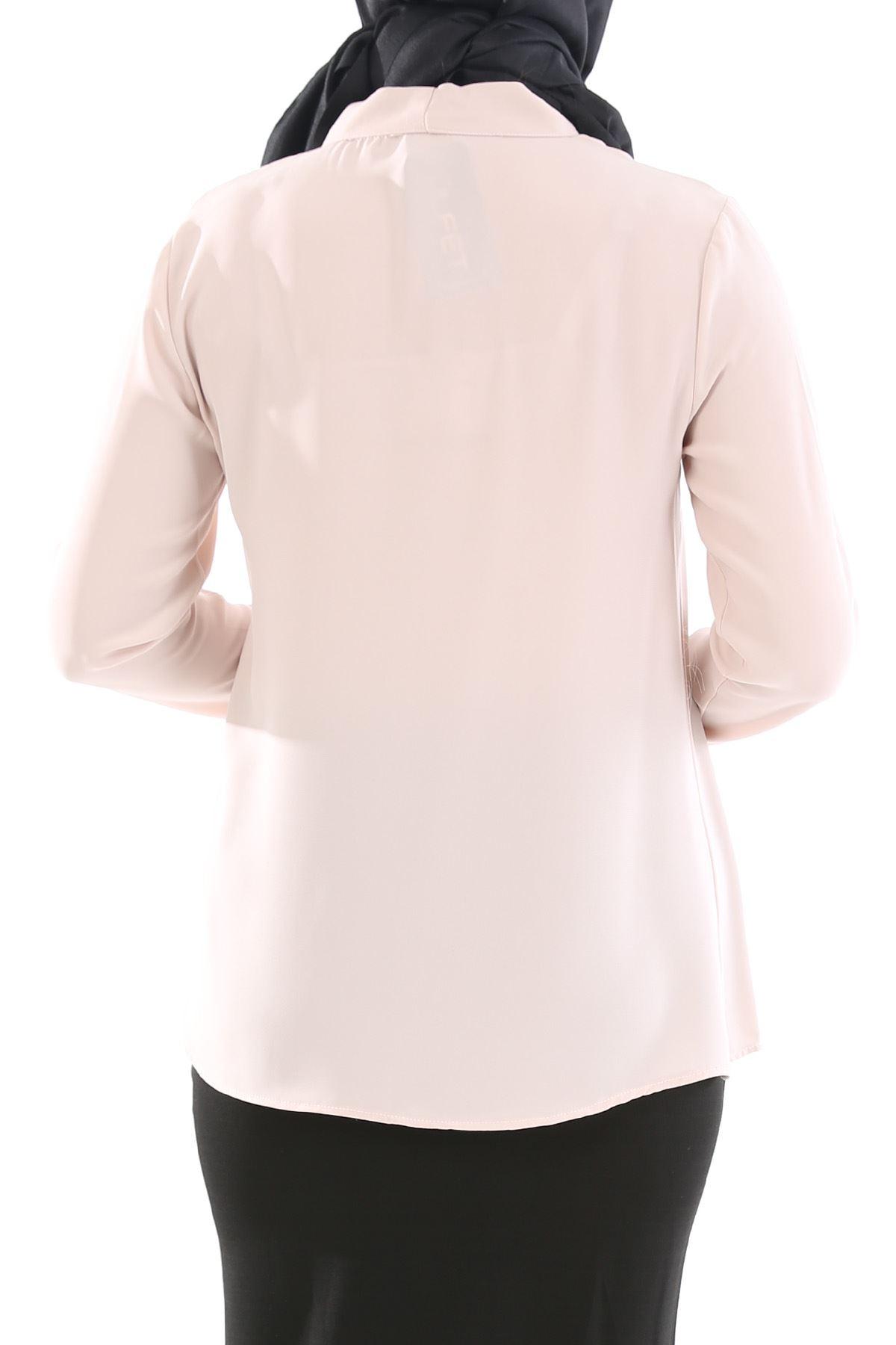Yaka Fularlı Gömlek-Taş