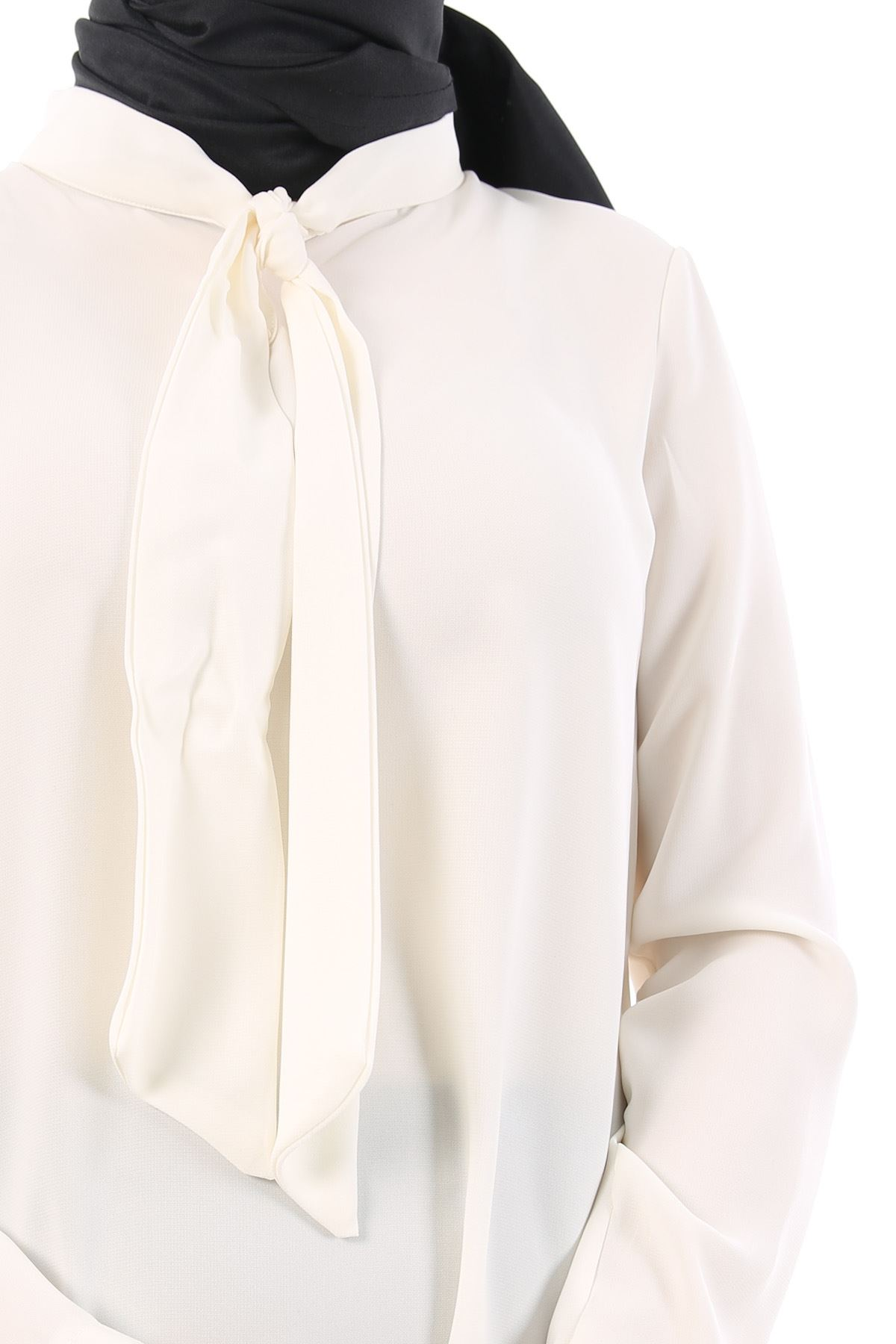 Yaka Fularlı Gömlek-Ekru