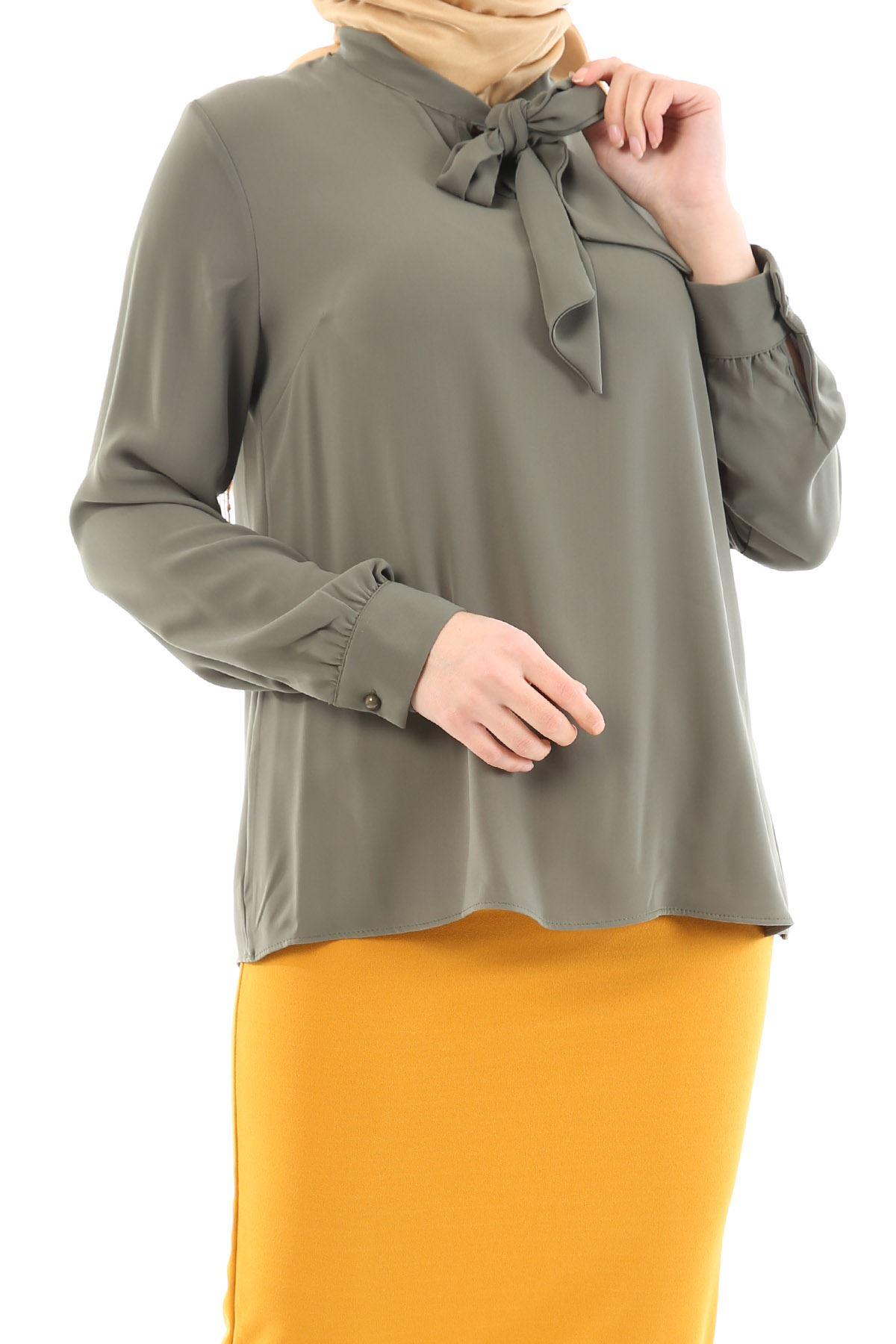Yaka Bağlamalı Gömlek-Haki