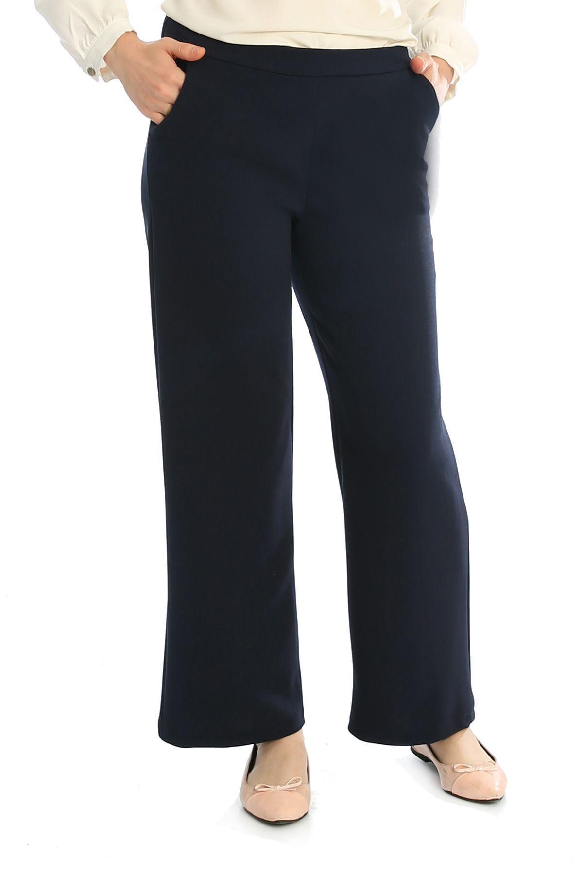 Bel Lastikli Cepli Pantolon-Lacivert