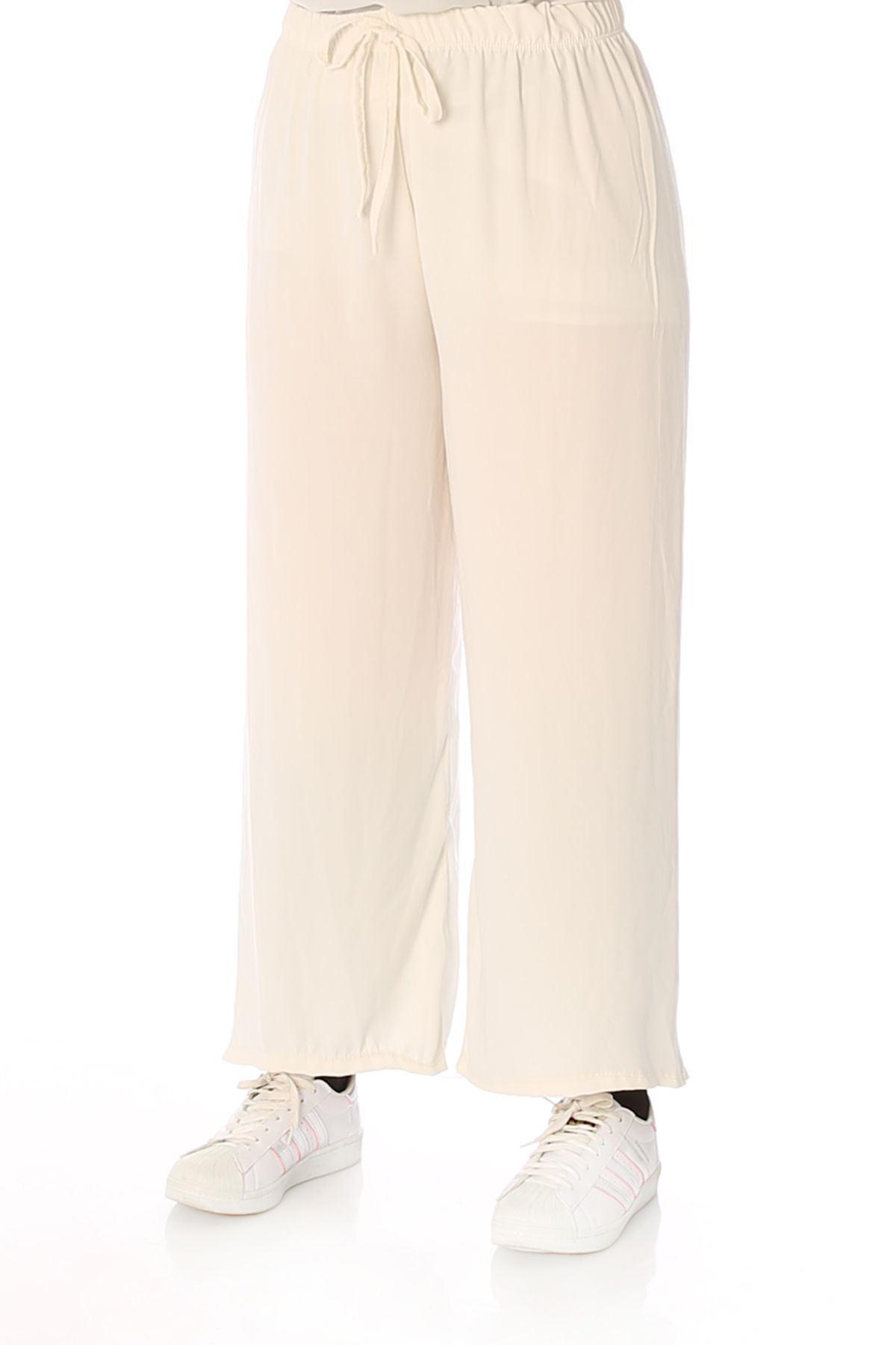 Bel Lastikli Salaş Pantolon-Ekru
