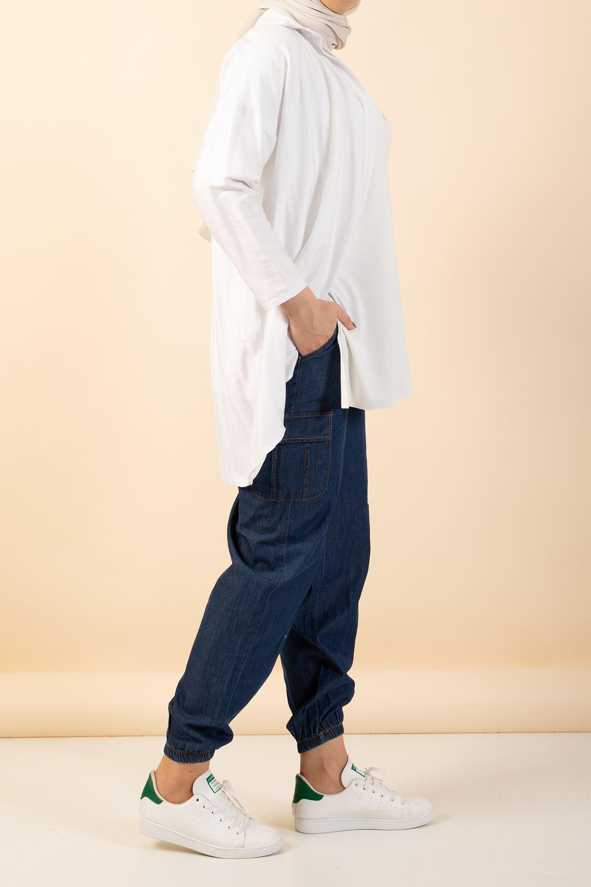 Paça Lastikli  Cep Detay Kot Pantolon-Kot Rengi