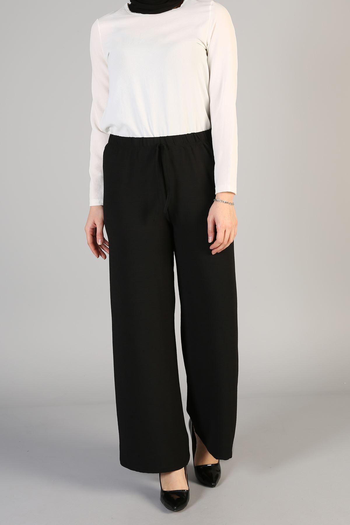 Bel Lastikli Bol Pantolon-Siyah