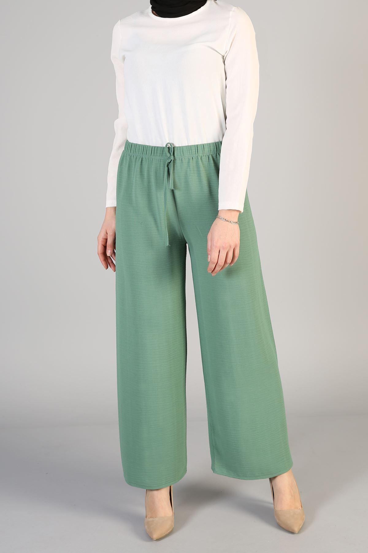 Bel Lastikli Bol Pantolon-Mint