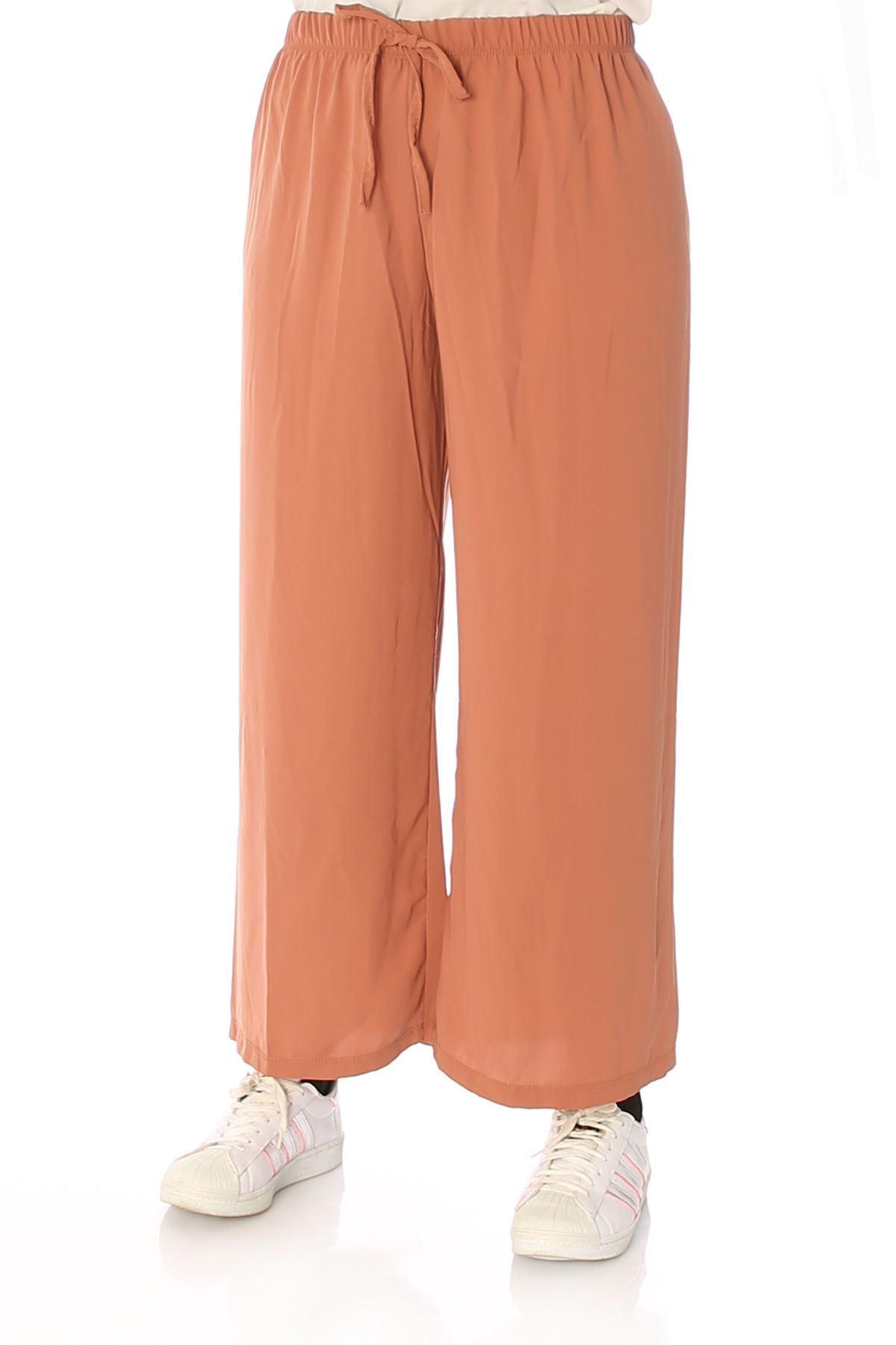 Bel Lastikli Salaş Pantolon-Karamel