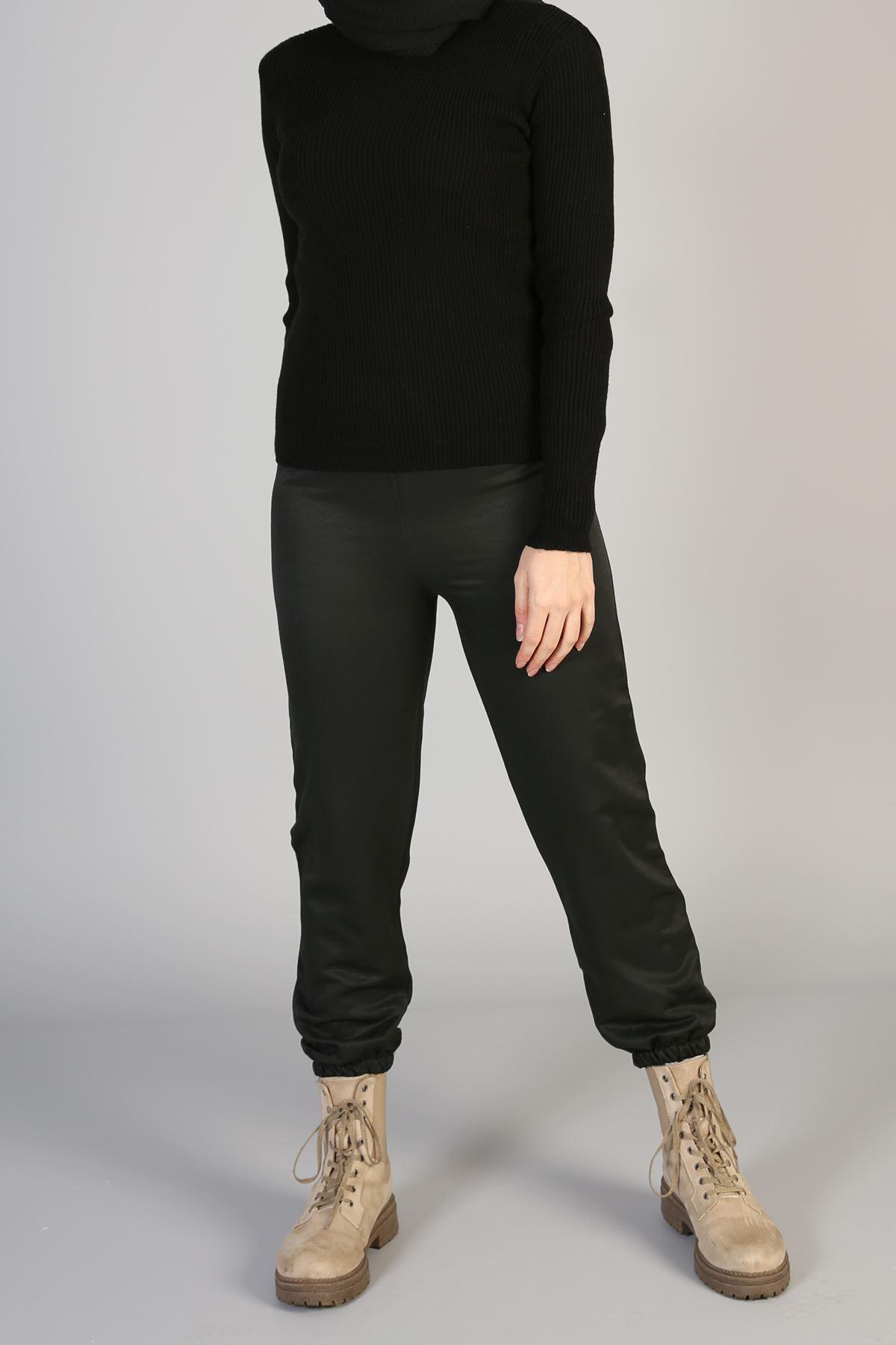 Bel Ve Paça Lastikli Stok Pantolon-Siyah