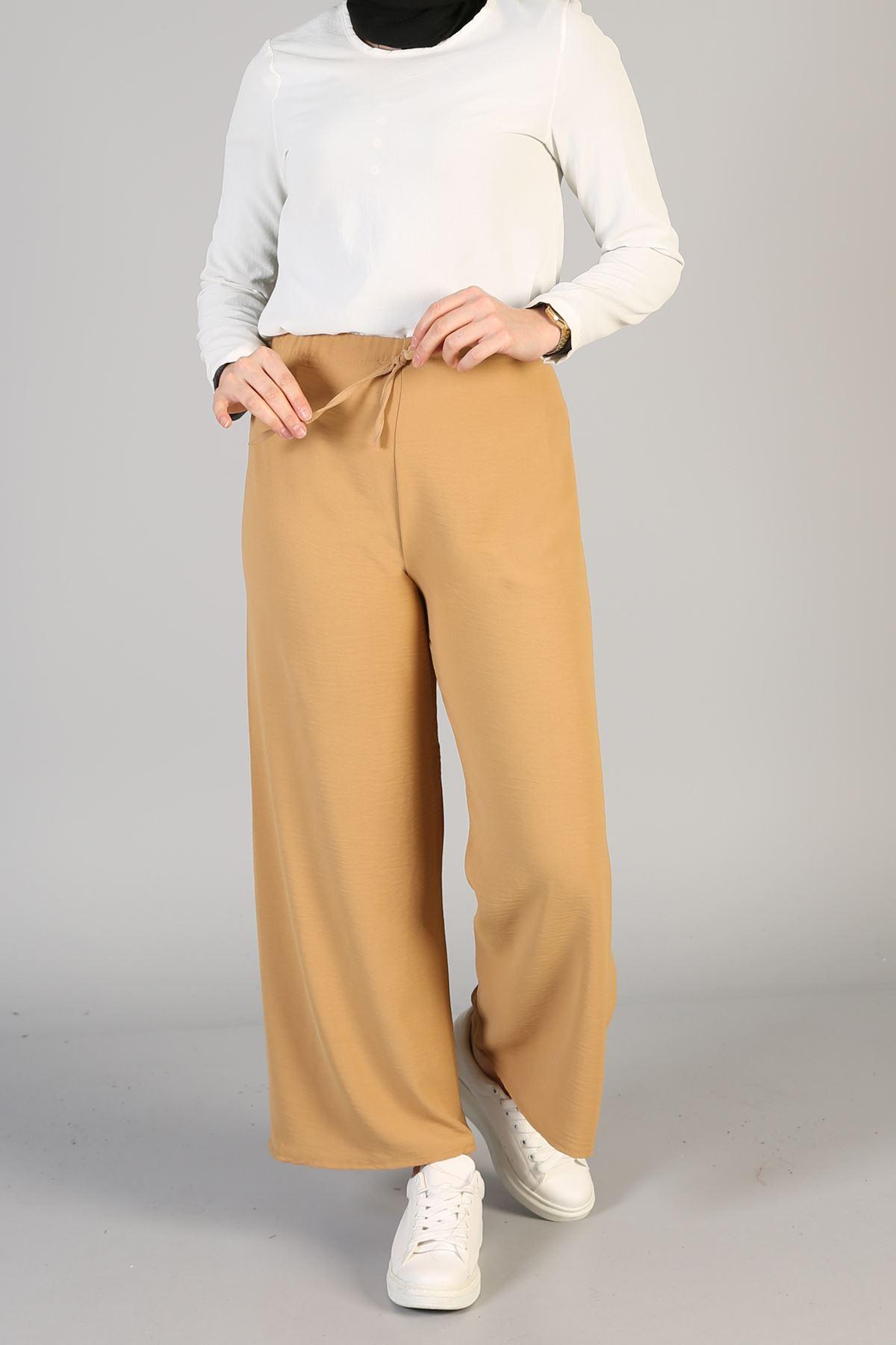 Bel Lastikli Bol Pantolon-Camel