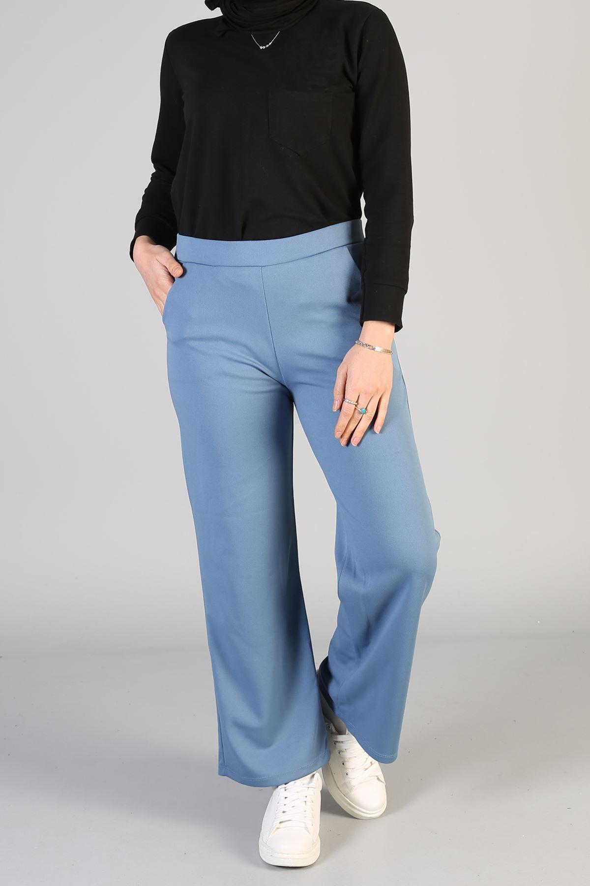 Cep Detaylı Pantolon-İndigo