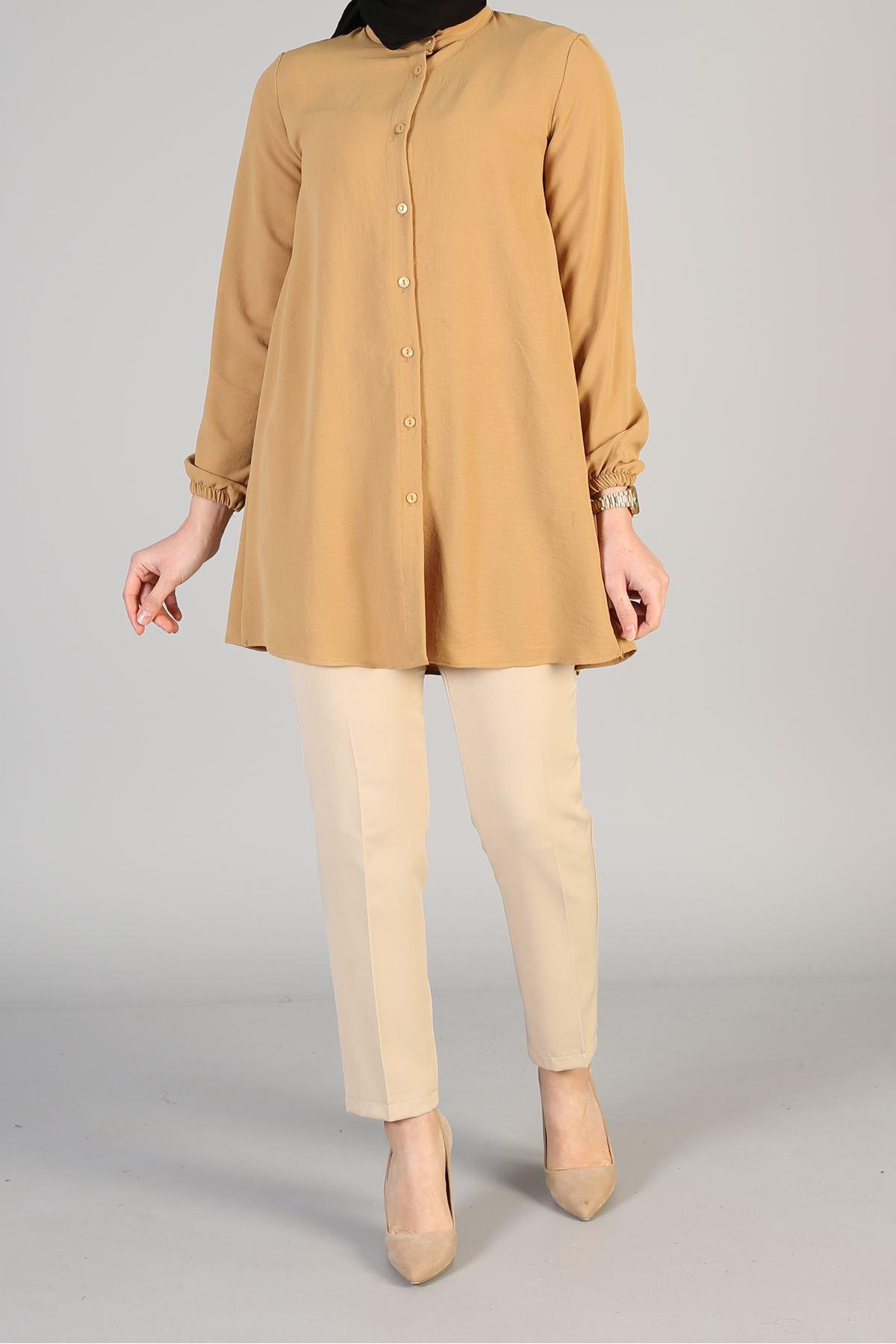 Arka Fiyonk  Detay Düğmeli Tunik-Camel