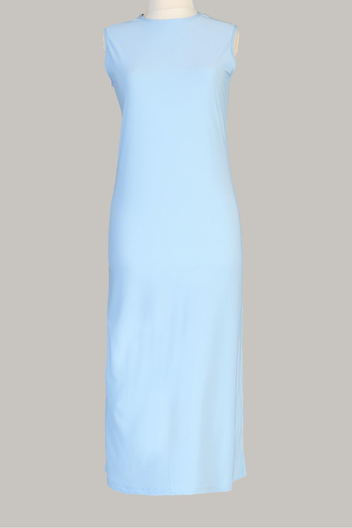 Sıfır Kol Uzun Tunik-Bebe Mavisi