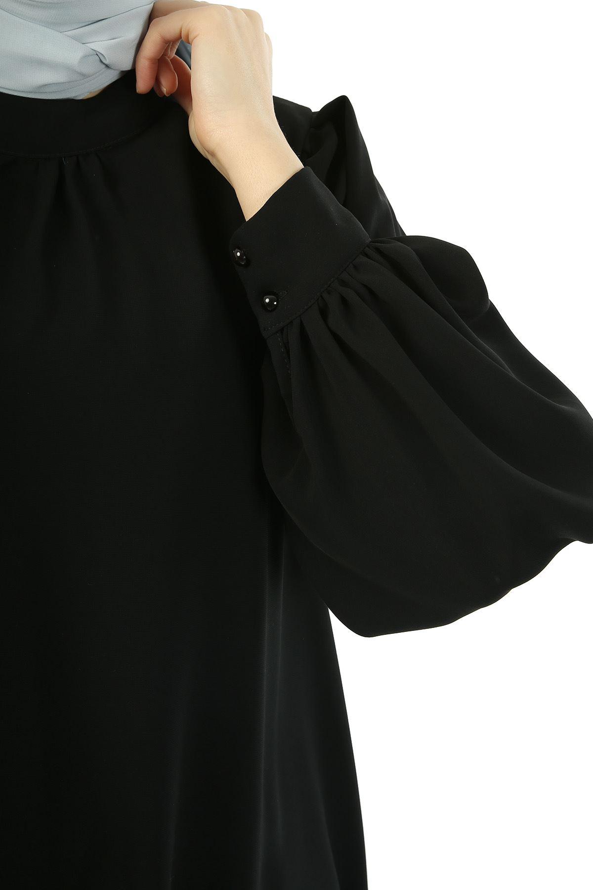Ön Büzgü Detay Balon Kol Tunik-Siyah