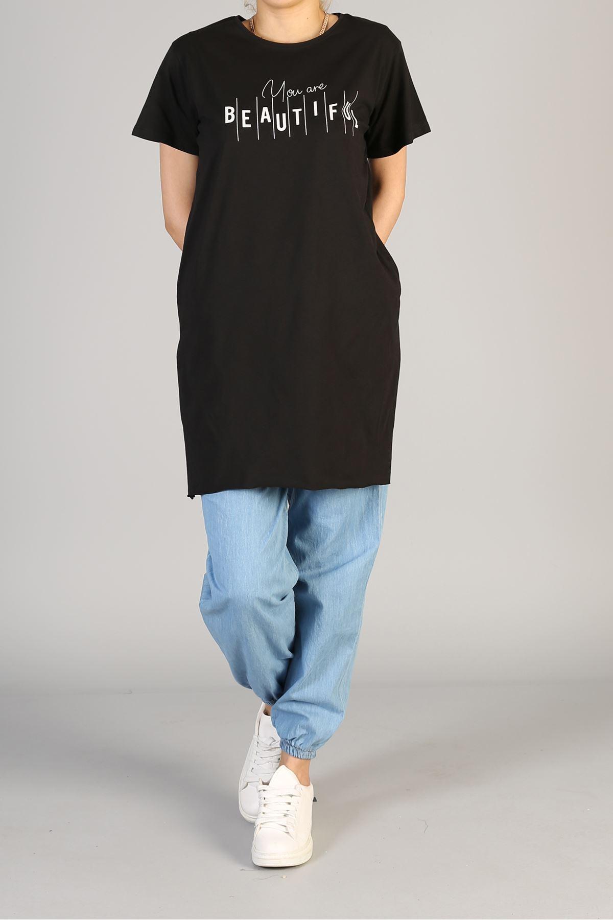 Baskılı Kısa Kol Uzun Tunik-Siyah
