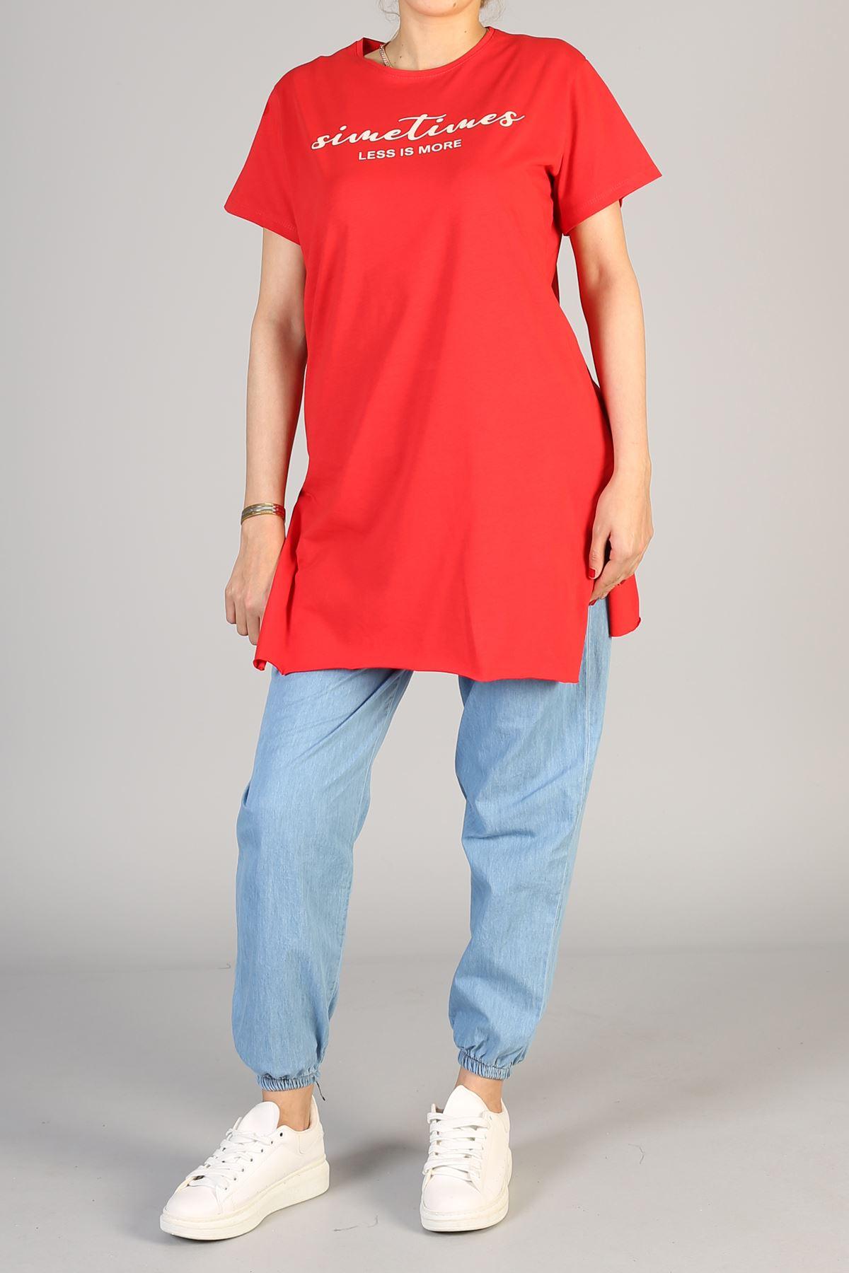 Baskılı Kısa Kol Uzun Tunik-Kırmızı