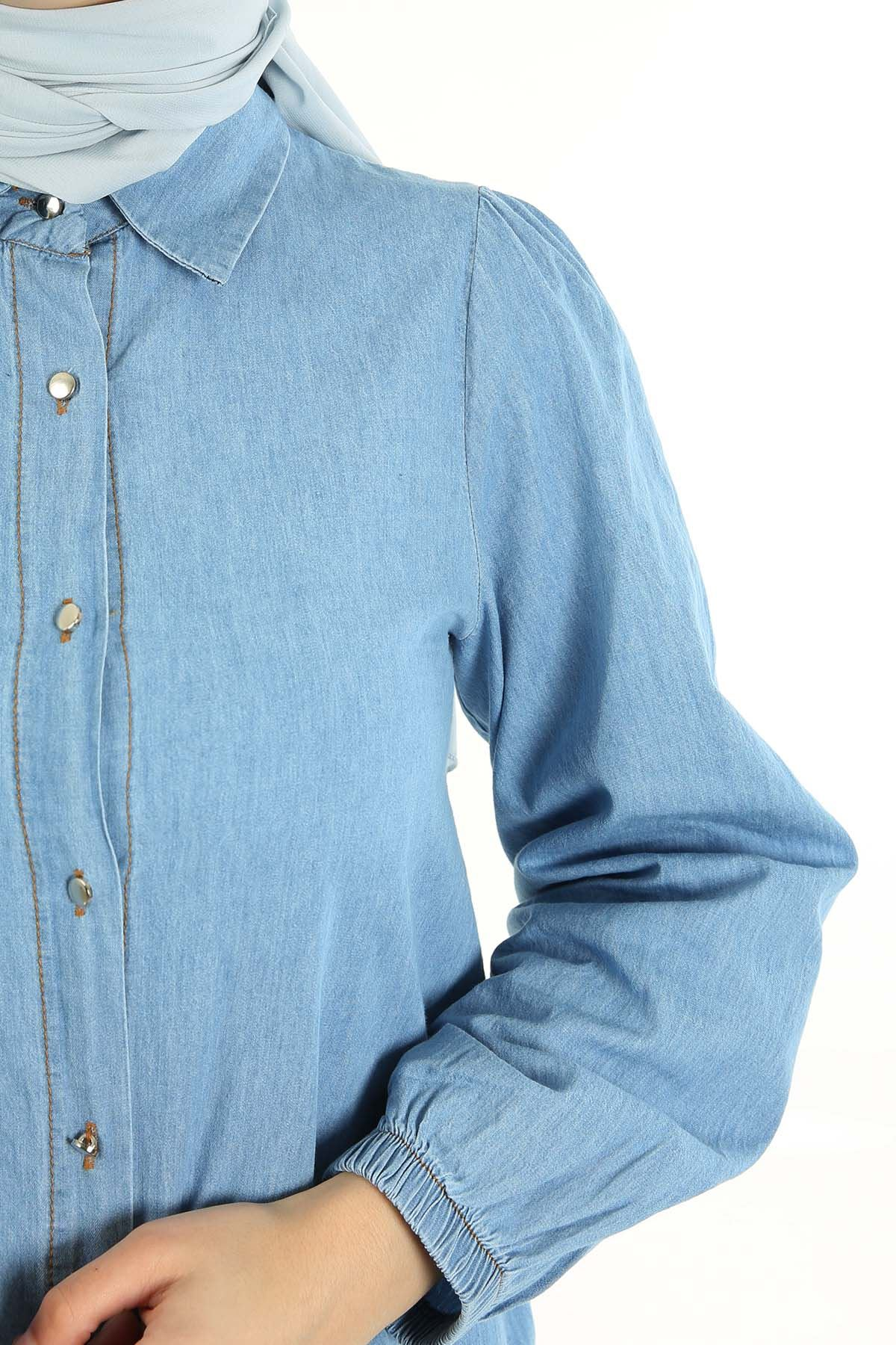 Ön Düğmeli Kol Lastikli Tunik-Mavi