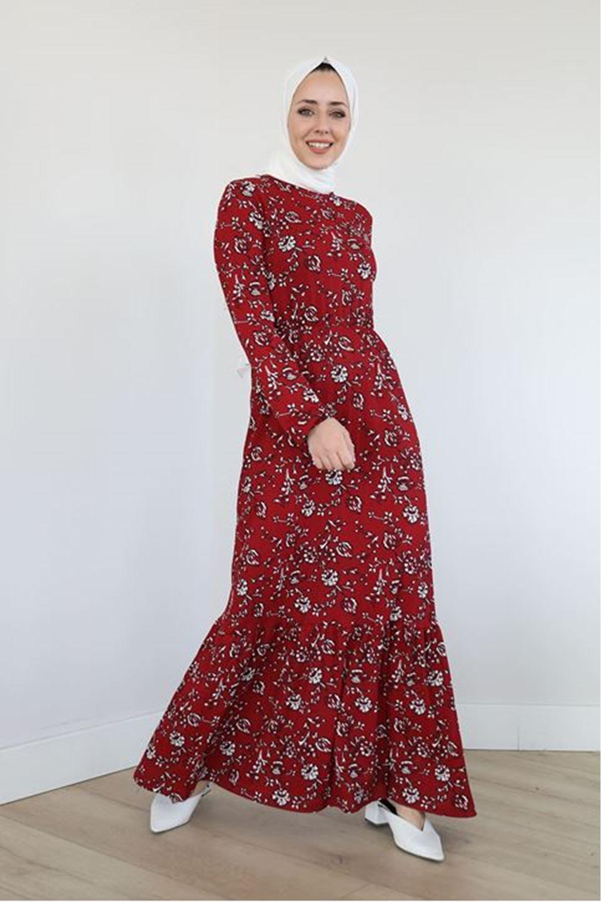ASS-Eteği Fırfırlı Kolu Lastikli Elbise-Bordo
