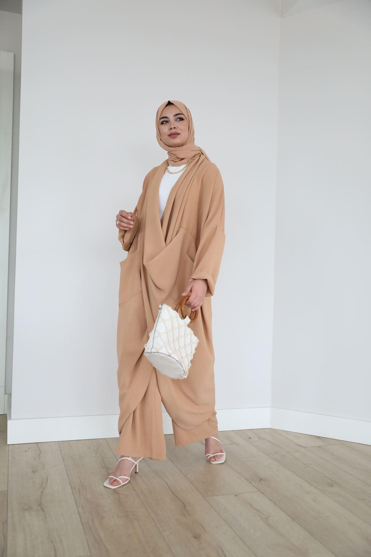 Çapraz Tunik Pantolon Takım-Camel