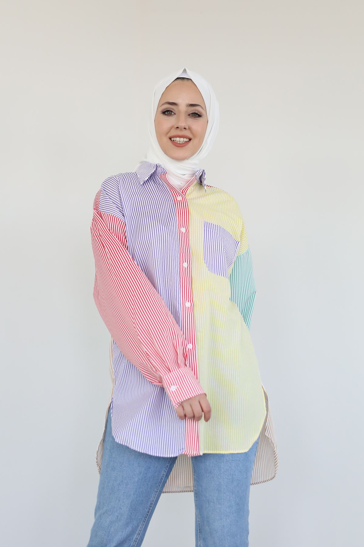 Çizgili Renkli Gömlek-Color