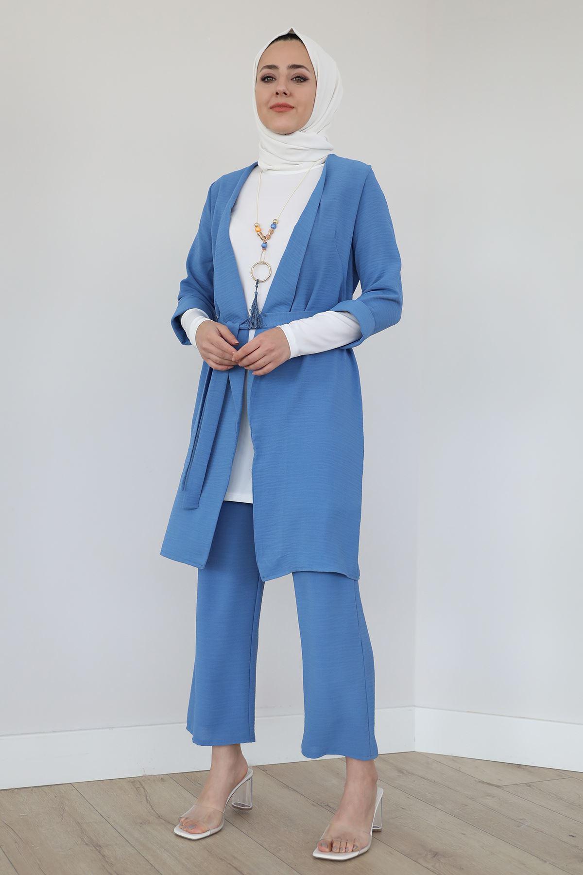 Kol Katlamalı Kolyeli Pantolon Takım-İndigo