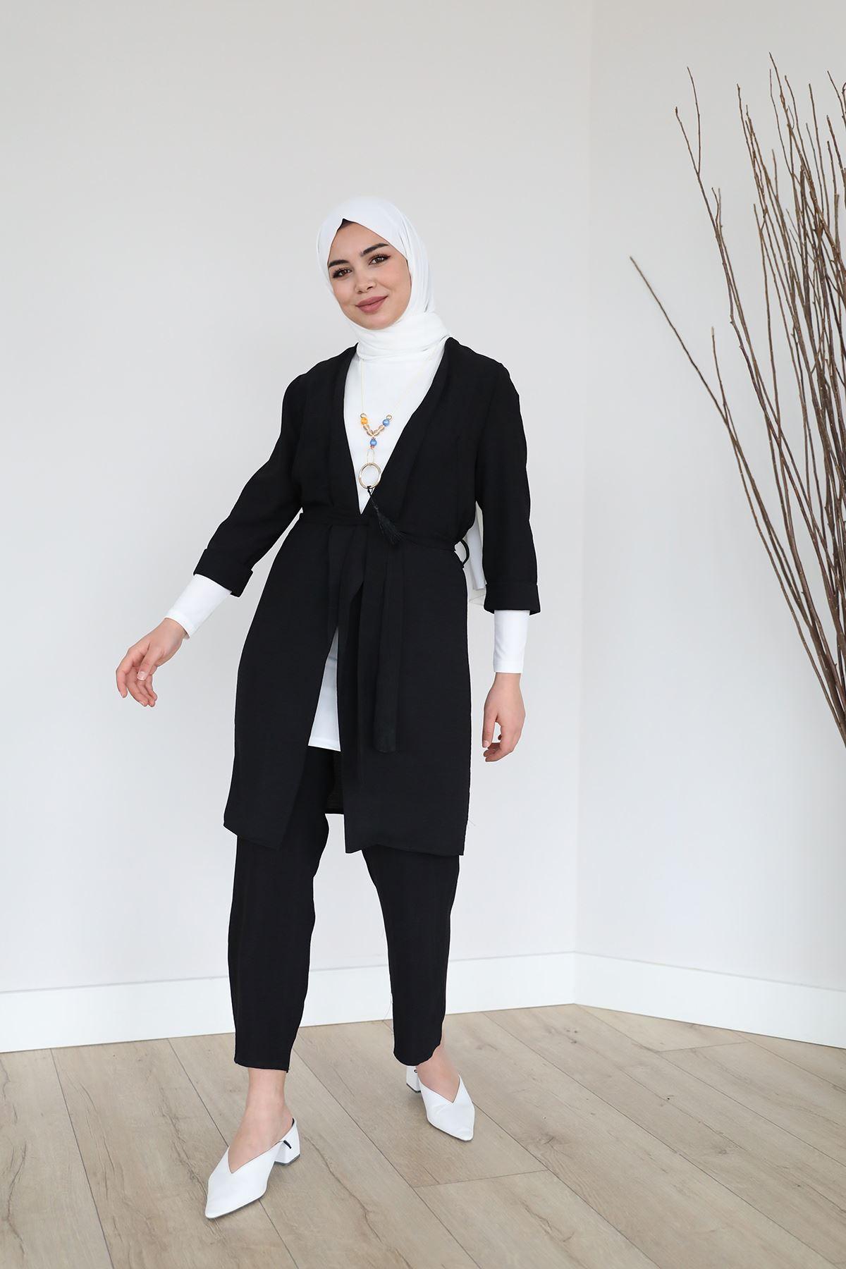 Kol Katlamalı Kolyeli Pantolon Takım-Siyah