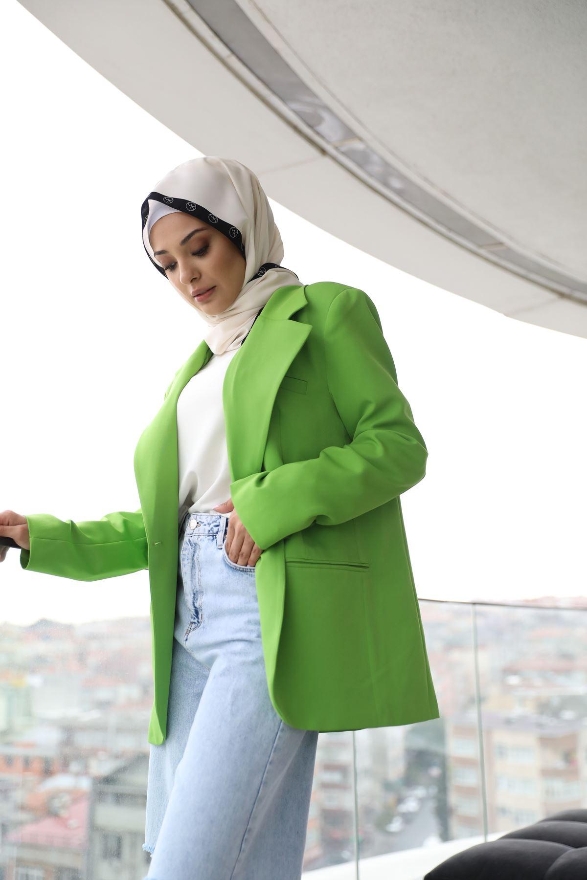 Retro Neon Ceket-Yeşil