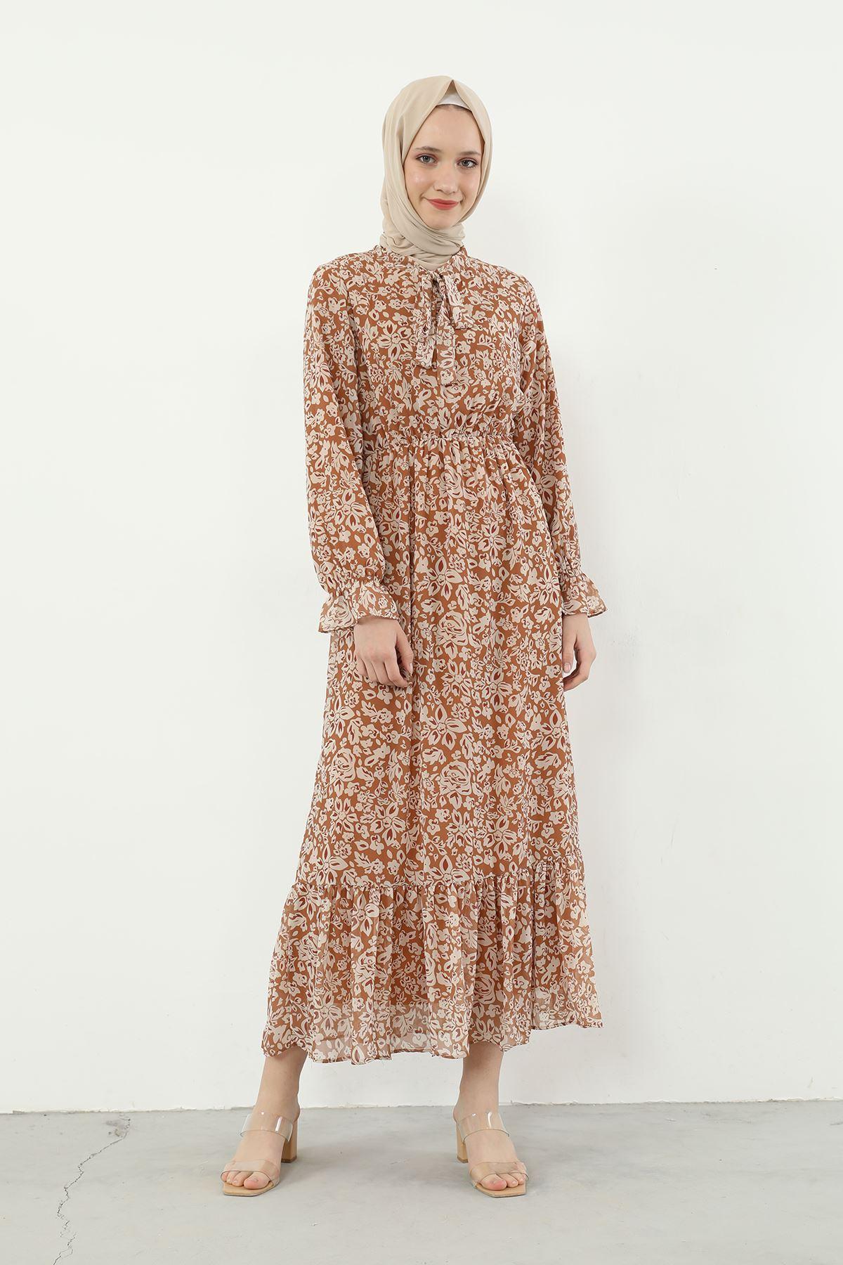 Yaka Bağlamalı Beli Lastikli Desenli Şifon Elbise-Taba