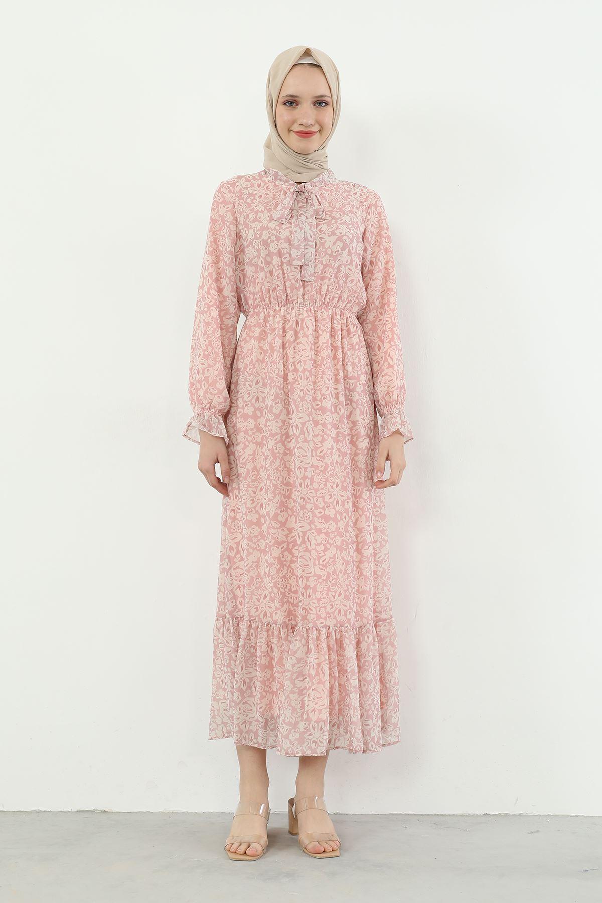 Yaka Bağlamalı Beli Lastikli Desenli Şifon Elbise-Pudra