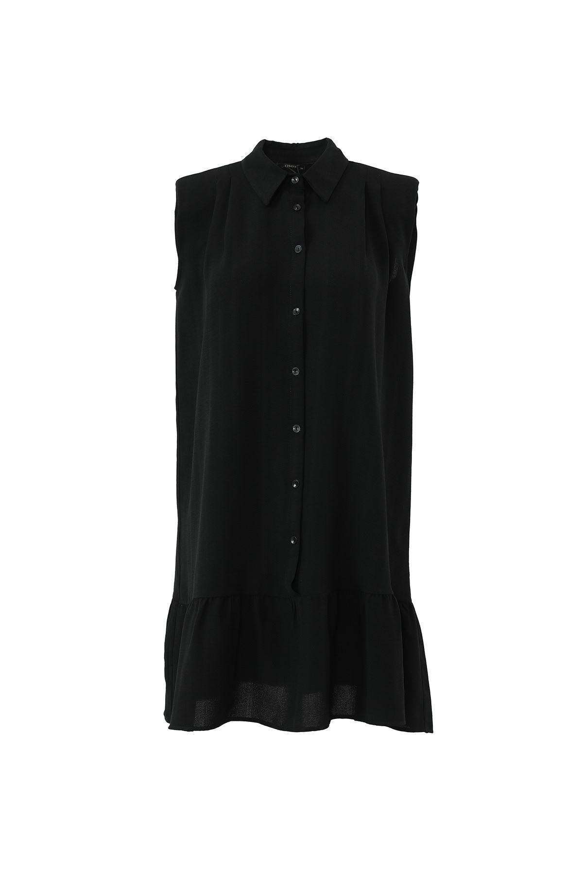 ASS-Etek Fırfırlı Sıfır Kol Tunik-Siyah