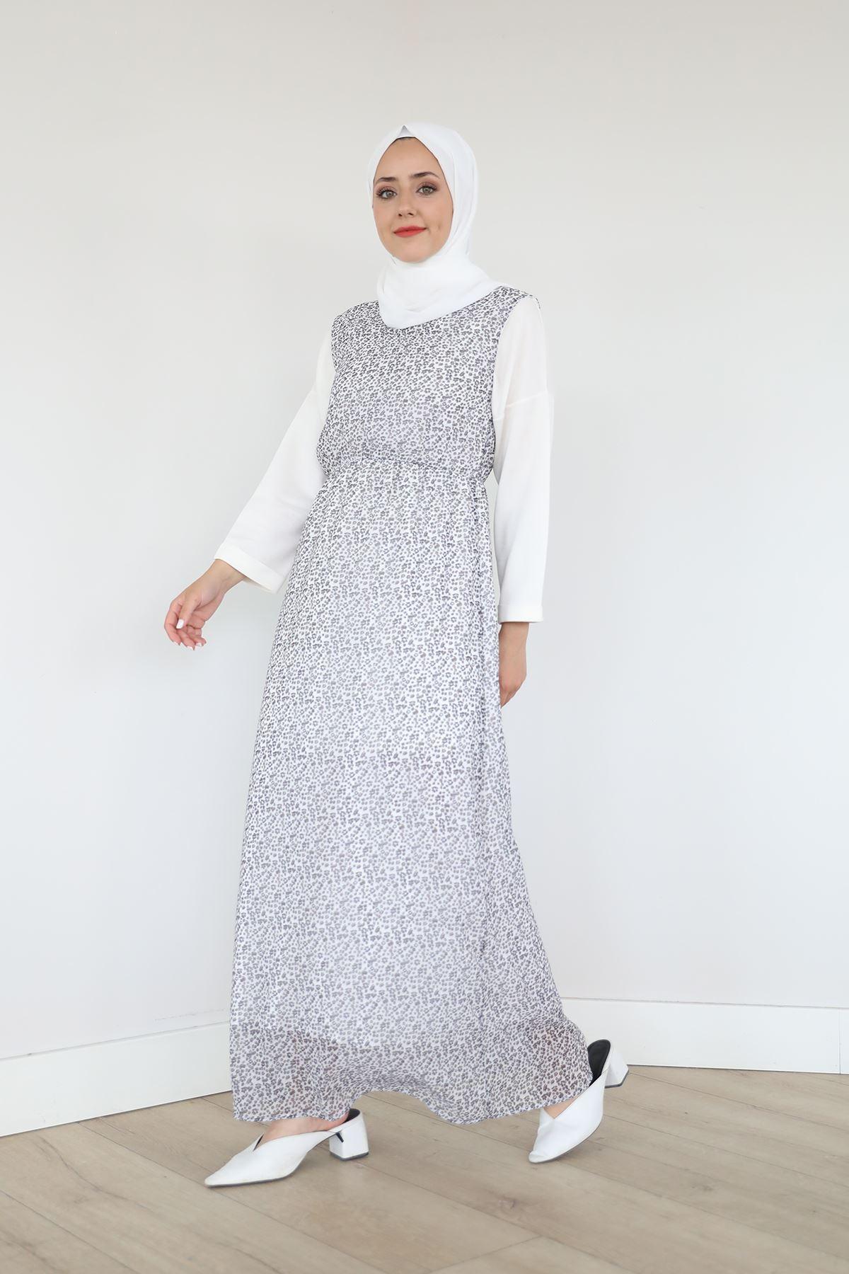 Sıfır Kol Bel Lastikli Şifon Elbise-Beyaz