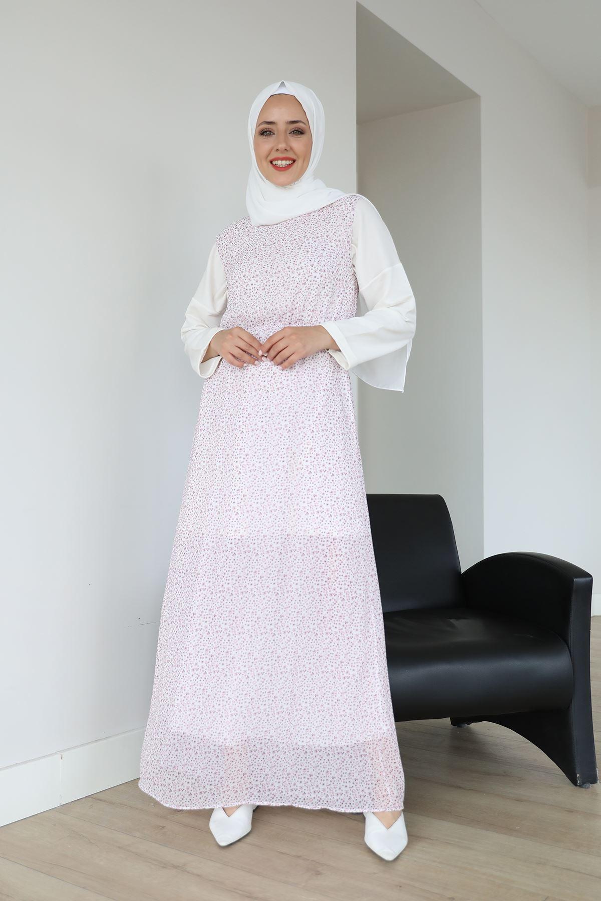 Sıfır Kol Bel Lastikli Şifon Elbise-Pudra