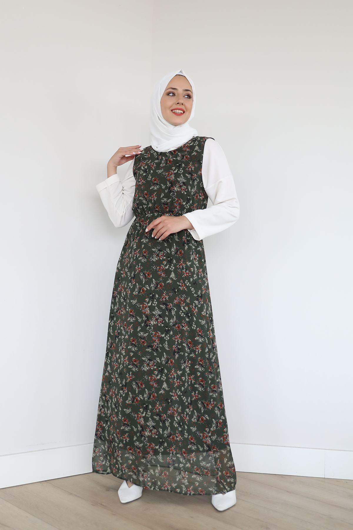 Sıfır Kol Bel Lastikli Şifon Elbise-Yeşil
