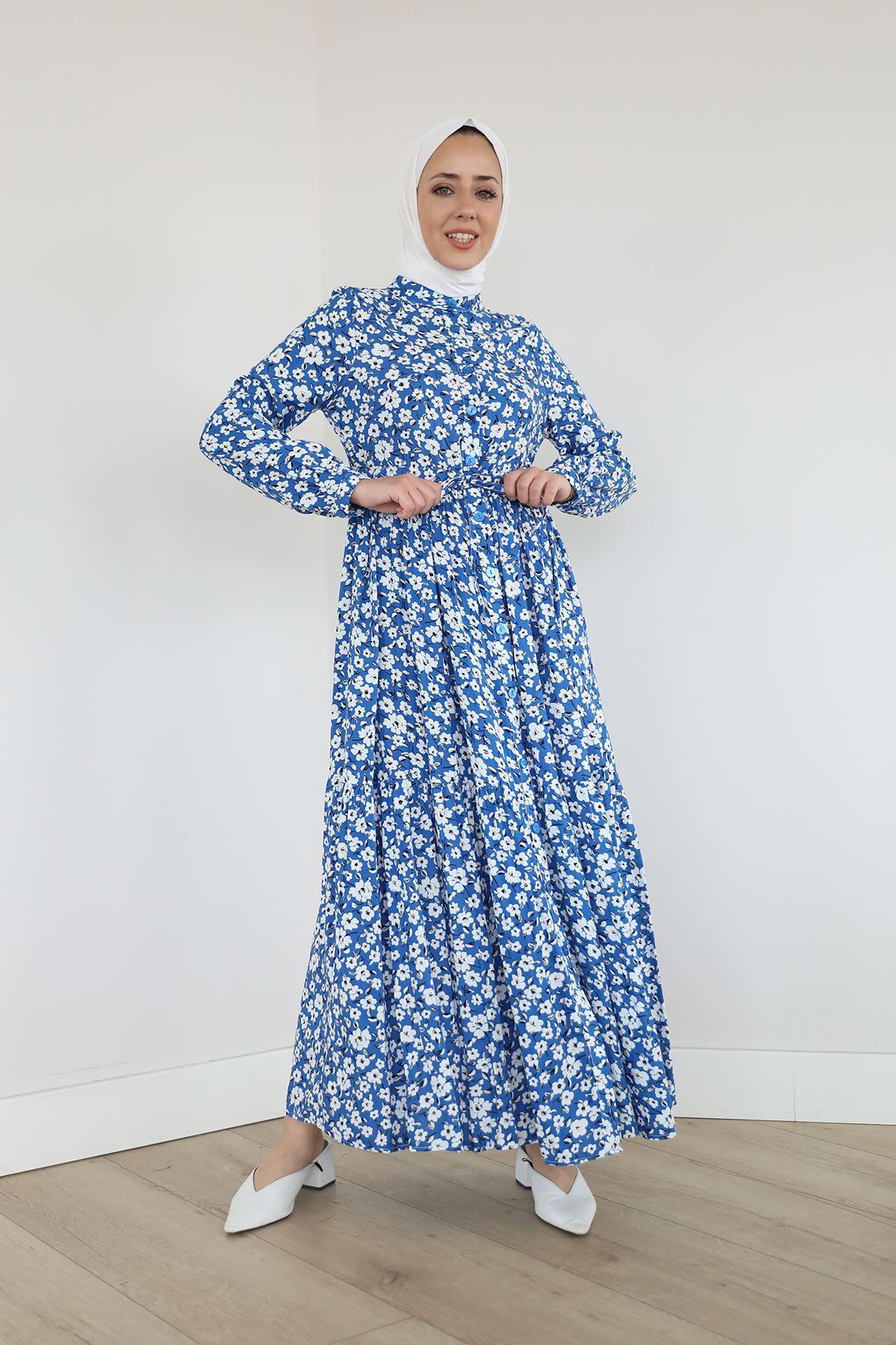 Önü Patlı Bel Tünelli Elbise-İndigo