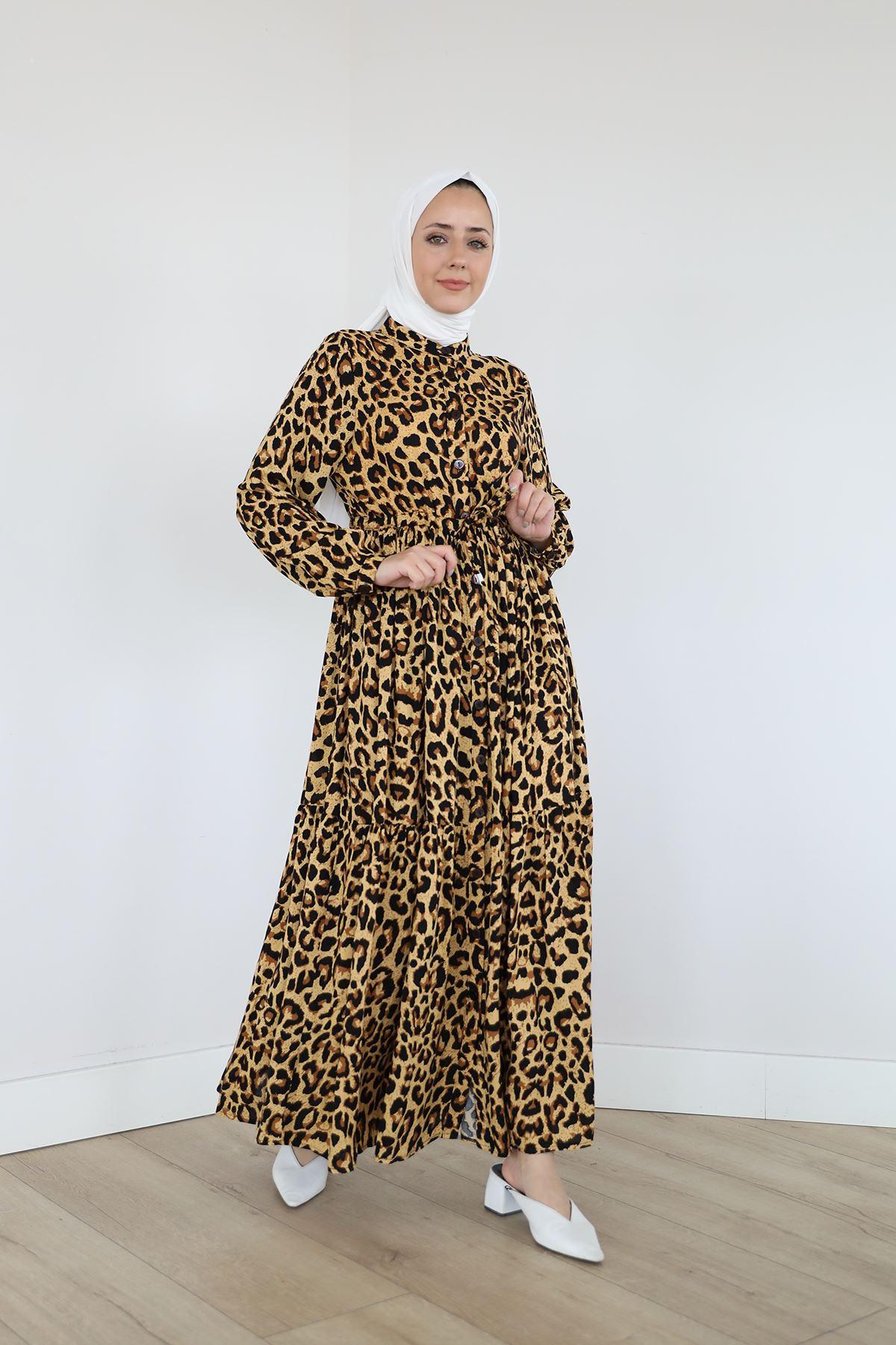 Önü Patlı Bel Tünelli Elbise-Leopar