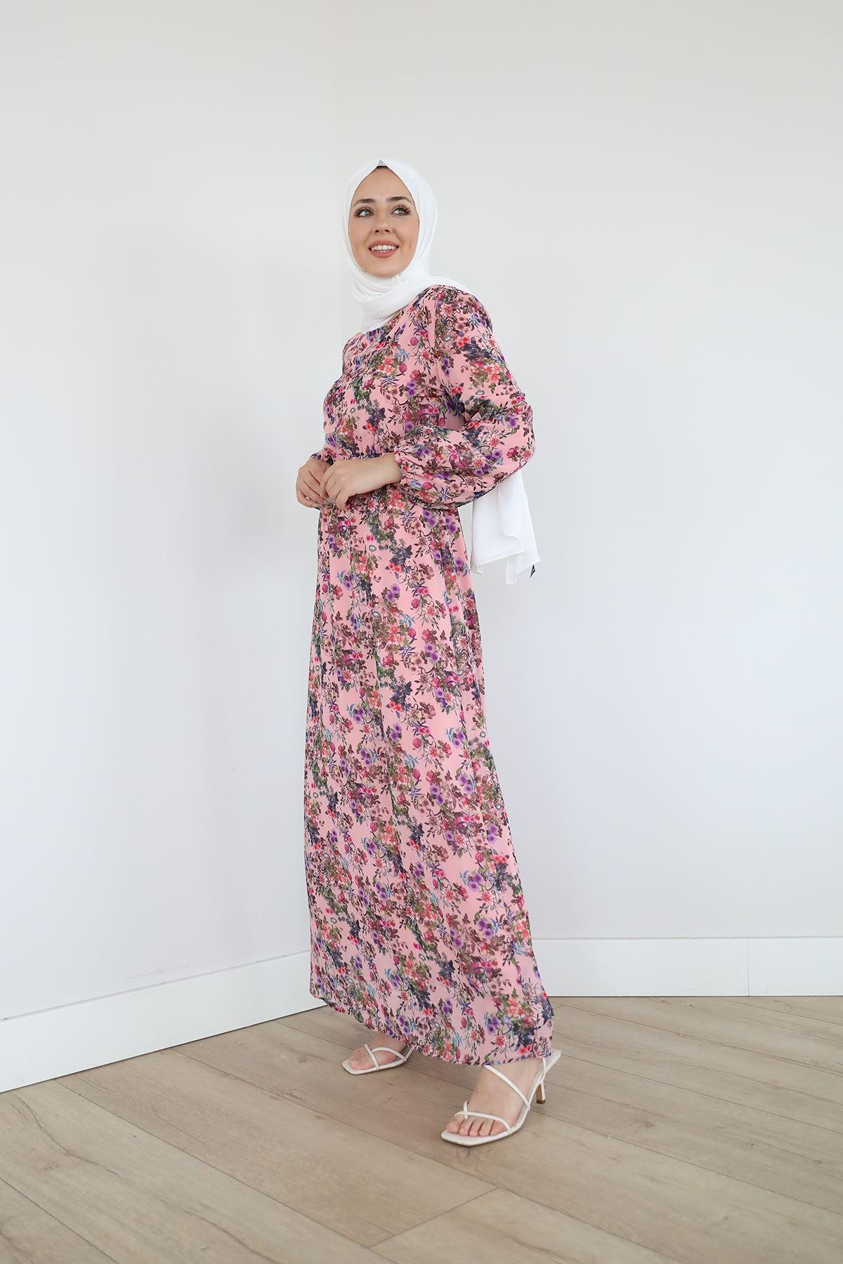 Bel Ve Kol Lastikli Şifon Elbise-Gül Kurusu