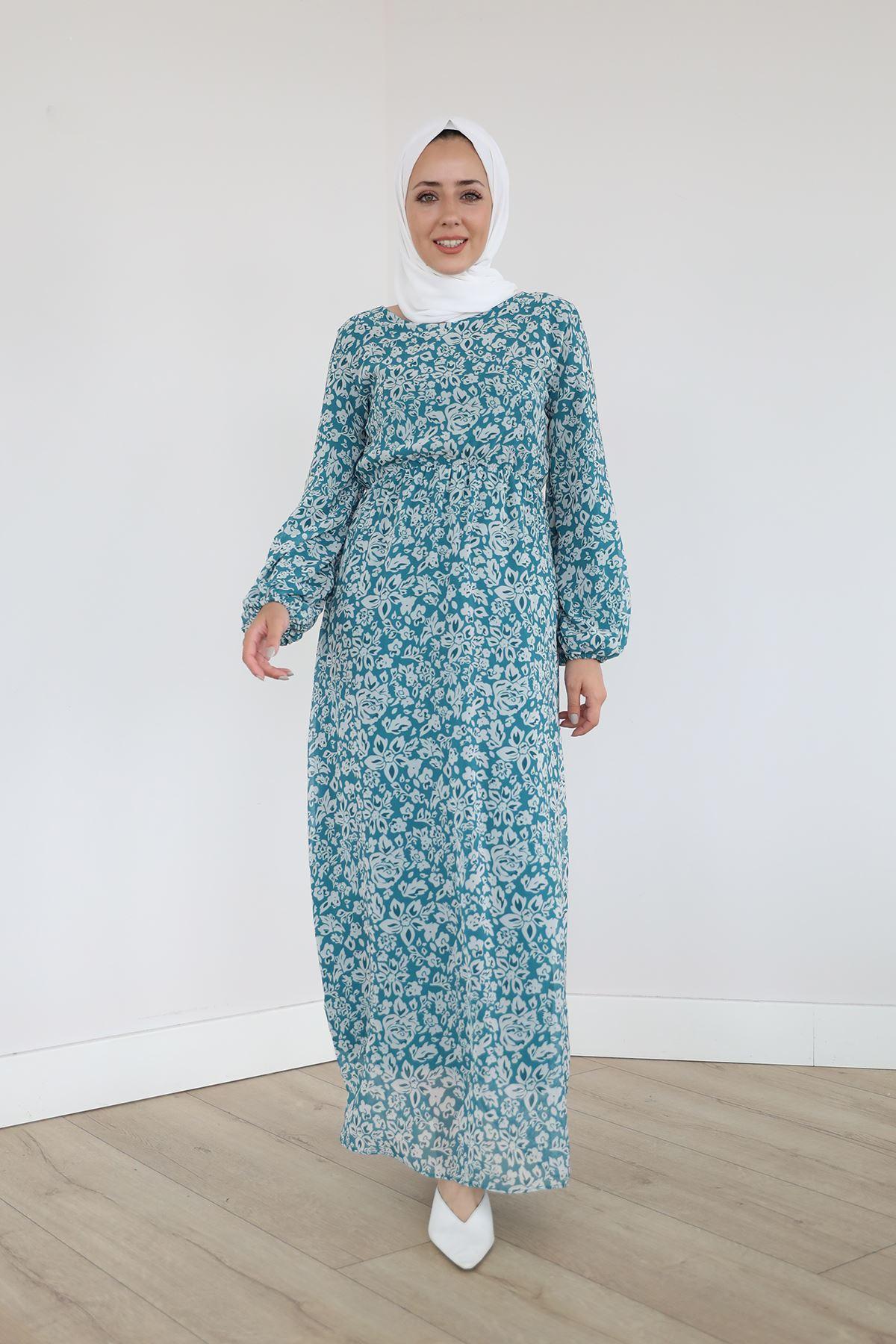 Bel Ve Kol Lastikli Şifon Elbise-Mint