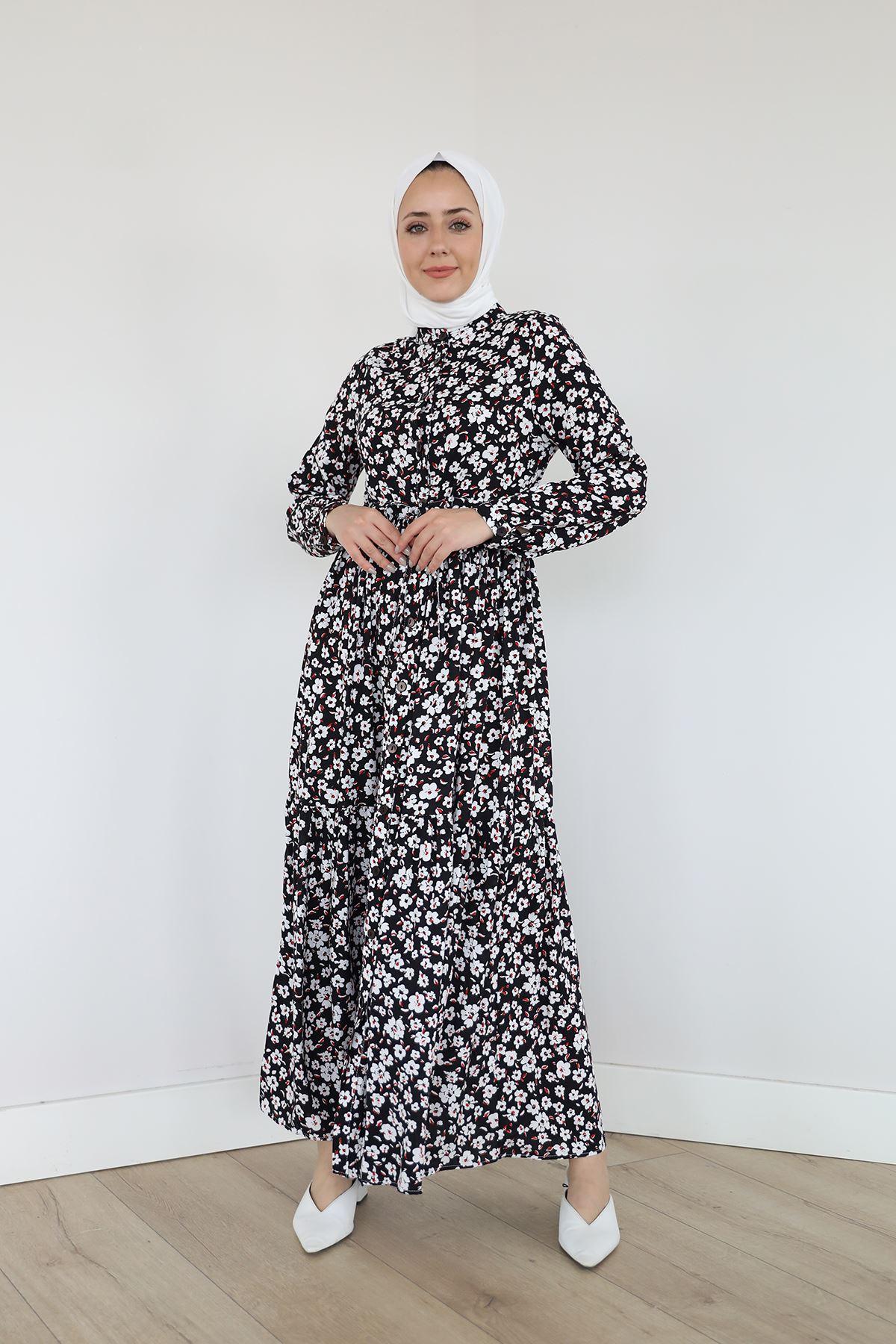Önü Patlı Bel Tünelli Elbise-Siyah