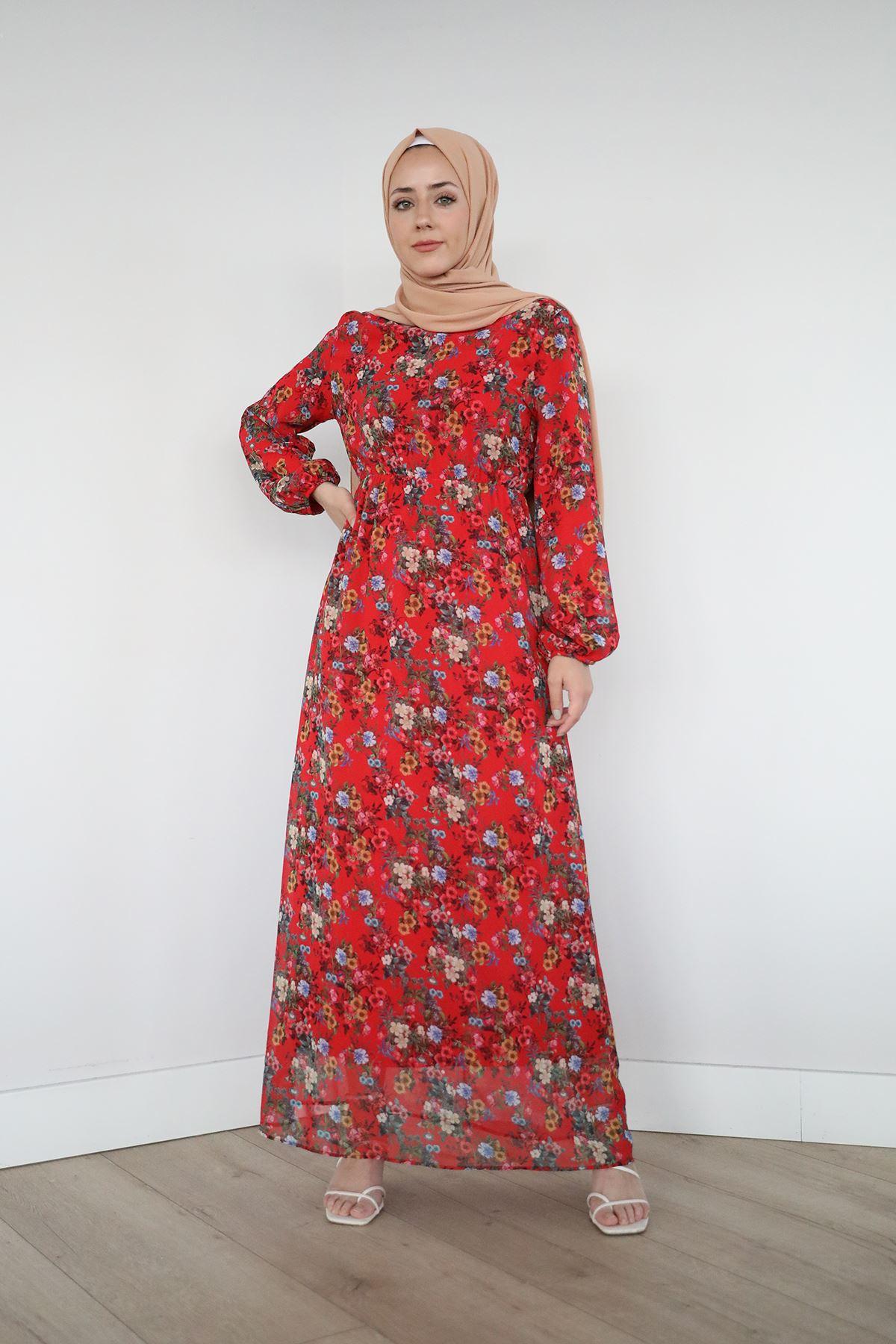 Bel Ve Kol Lastikli Şifon Elbise-Kırmızı