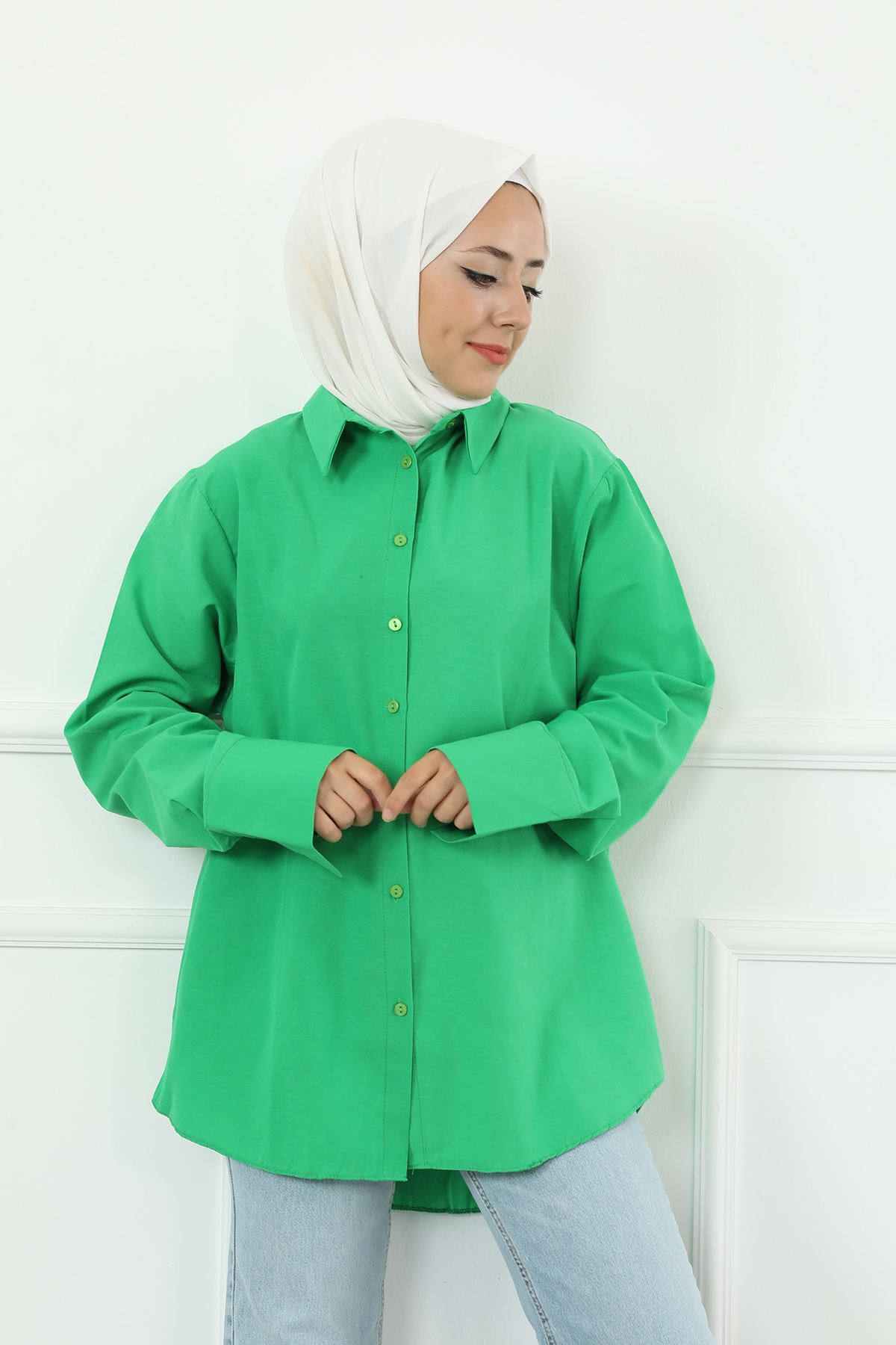 Poplin Gömlek-Yeşil
