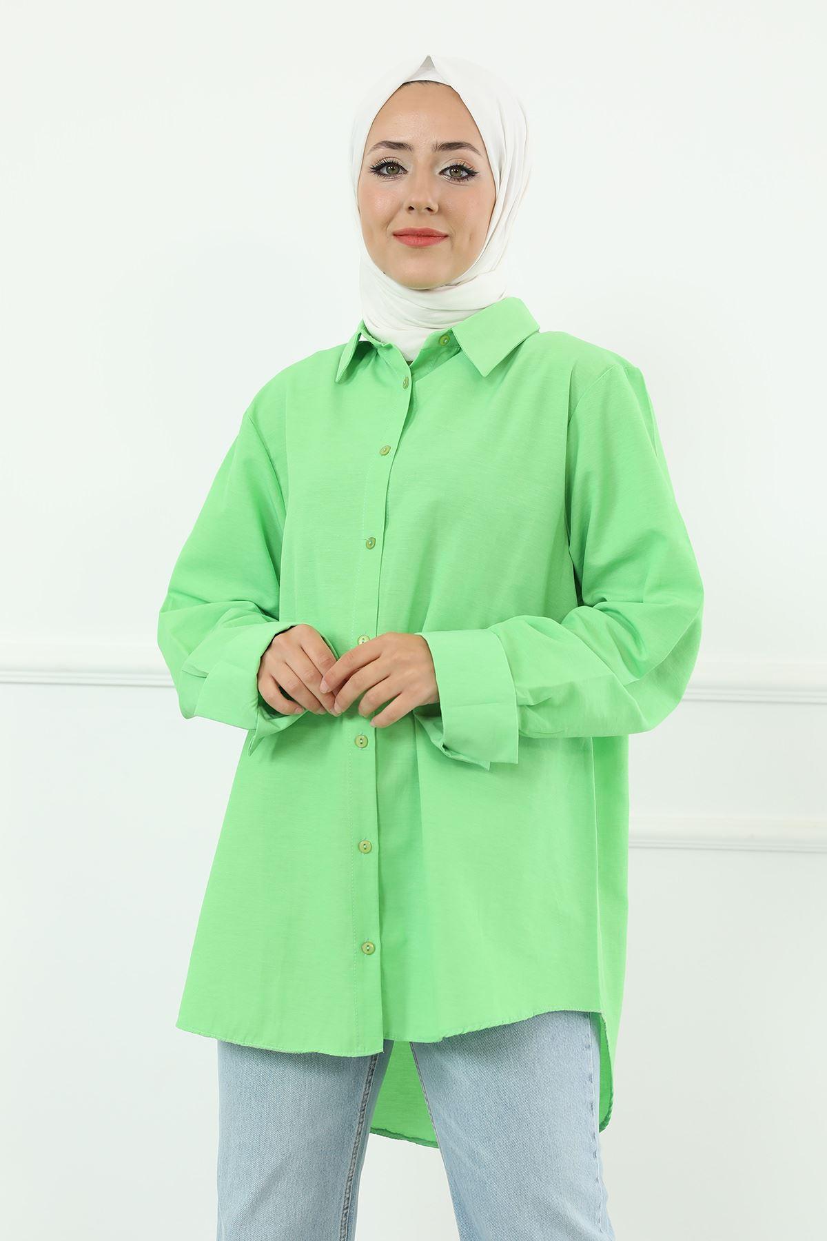 Poplin Gömlek-Neon Yeşil