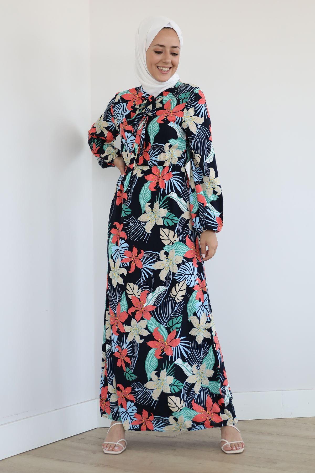Yaka Bağlama Detay Desenli Elbise-Lacivert
